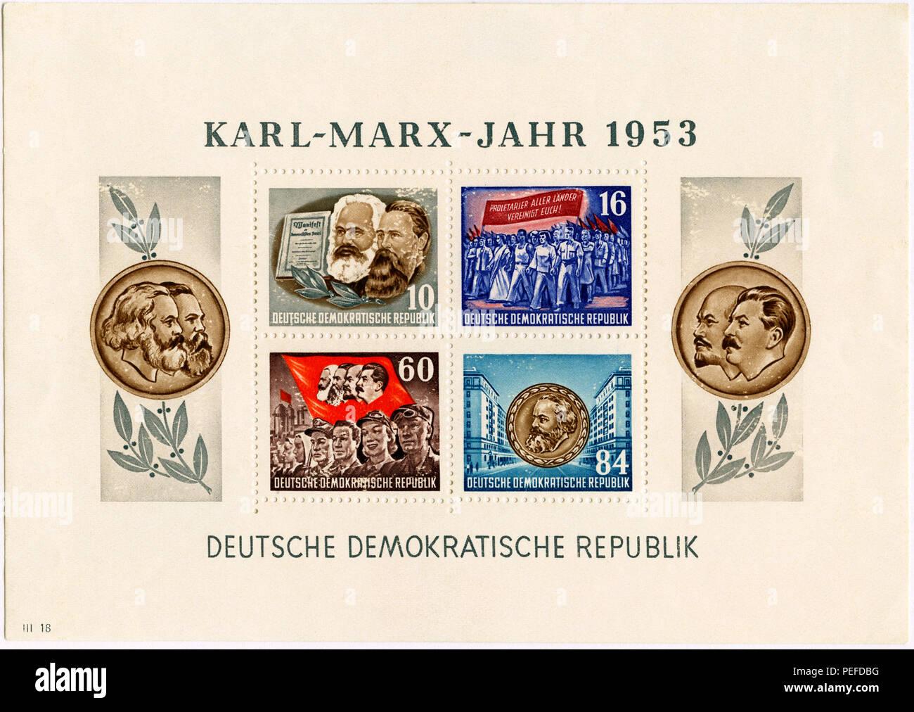 Karl Marx Commemorative Postage Stamp Sheet, East Germany, DDR, 1953 - Stock Image