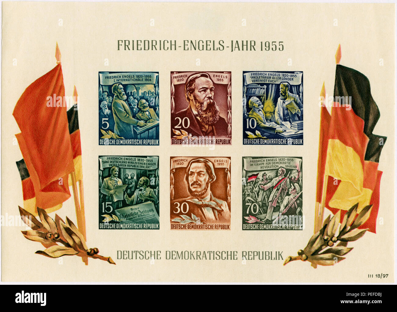 Friedrich Engels Commemorative Postage Stamp Sheet, East Germany, DDR, 1955 - Stock Image