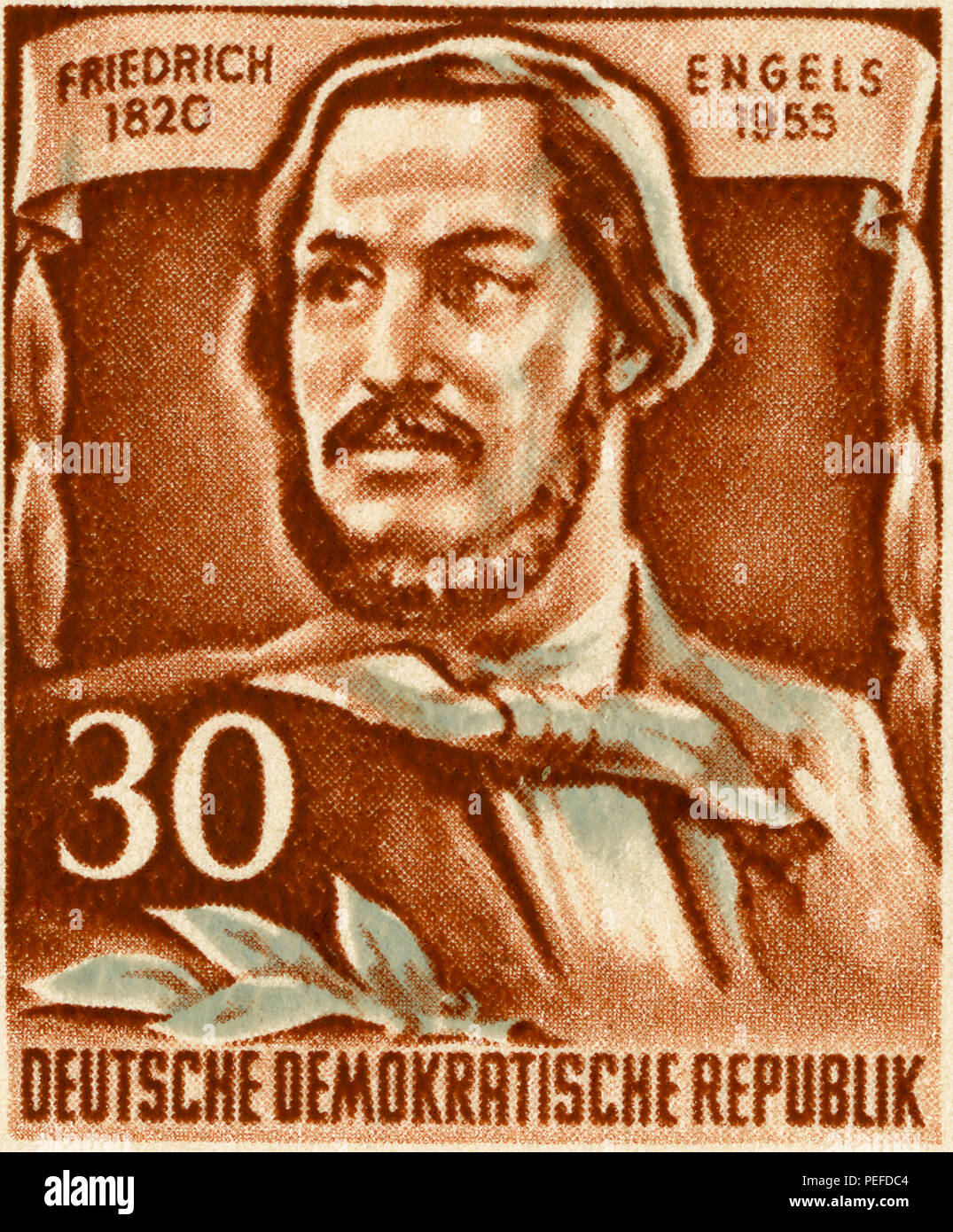 Friedrich Engels Commemorative Postage Stamp, East Germany, DDR, 1955 - Stock Image