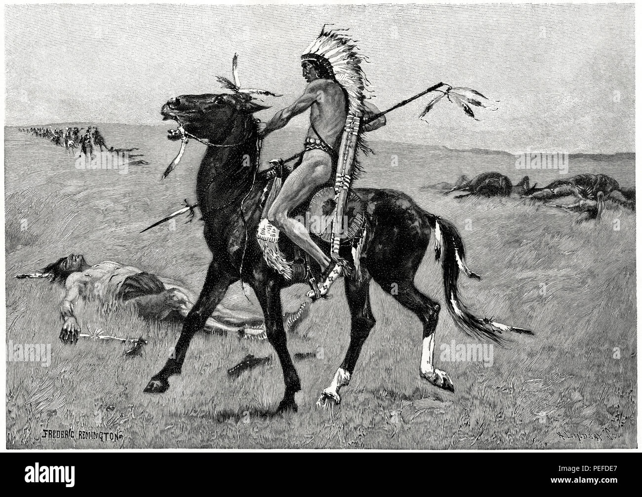 Old-Time Northern Plains Indian, The Coup, Illustration, Frederic Remington, Harper's Monthly Magazine, 1890 - Stock Image