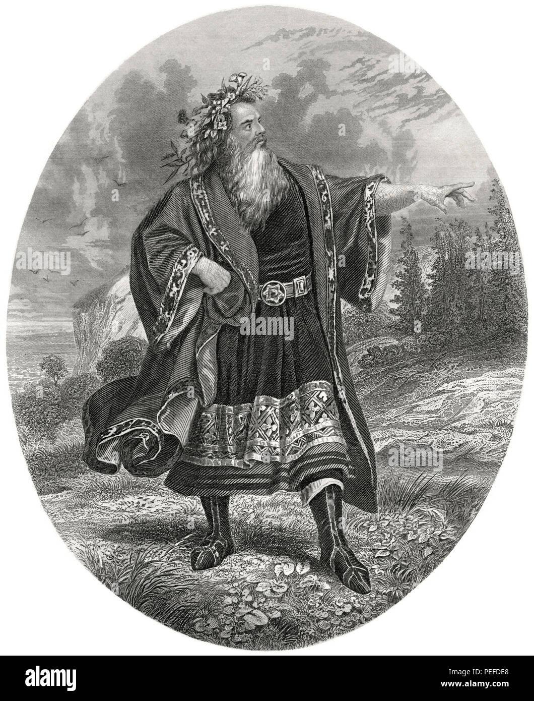 Mr. Edwin Forrest as King Lear, Illustration by Henry J. Johnson, Harper's Monthly Magazine, 1879 - Stock Image