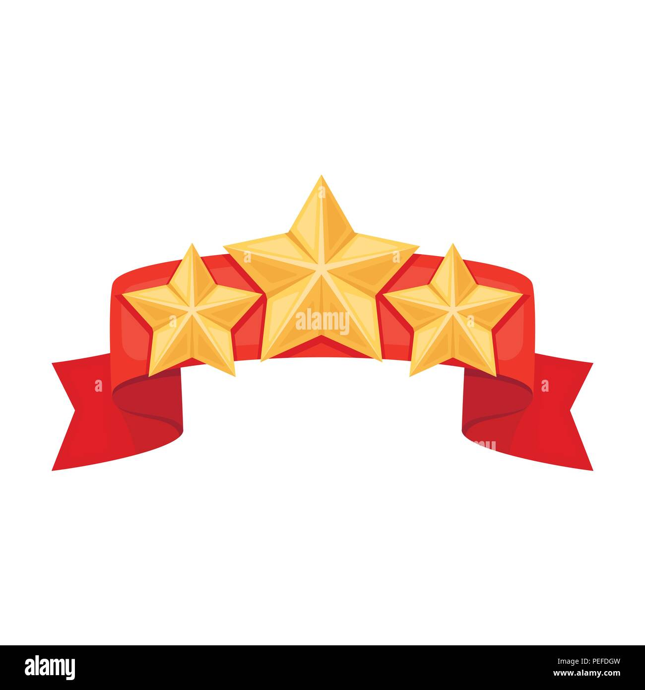 Red Ribbon With Three Starsward A Police Officer For Detention Of