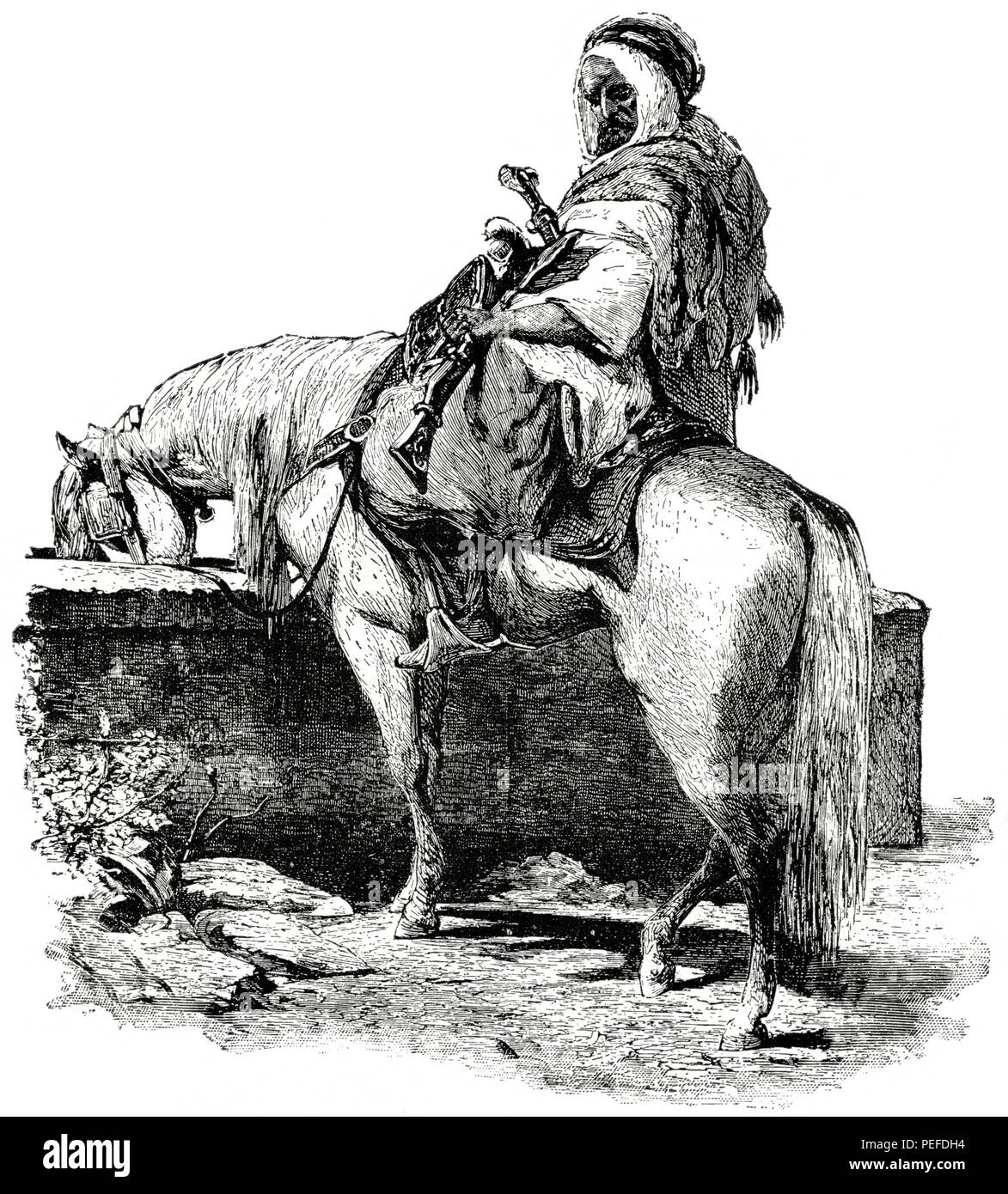 Syrian Bedouin at Desert Well, 1890's, Illustration, Classical Portfolio of Primitive Carriers, by Marshall M. Kirman, World Railway Publ. Co., Illustration, 1895 - Stock Image