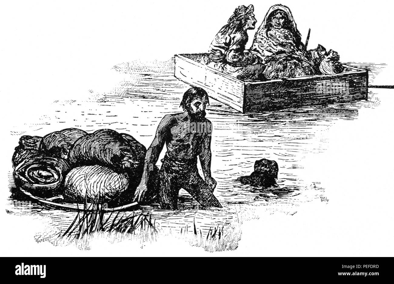 Crossing the Red River, Manitoba, Canada, Illustration, Classical Portfolio of Primitive Carriers, by Marshall M. Kirman, World Railway Publ. Co., Illustration, 1895 - Stock Image