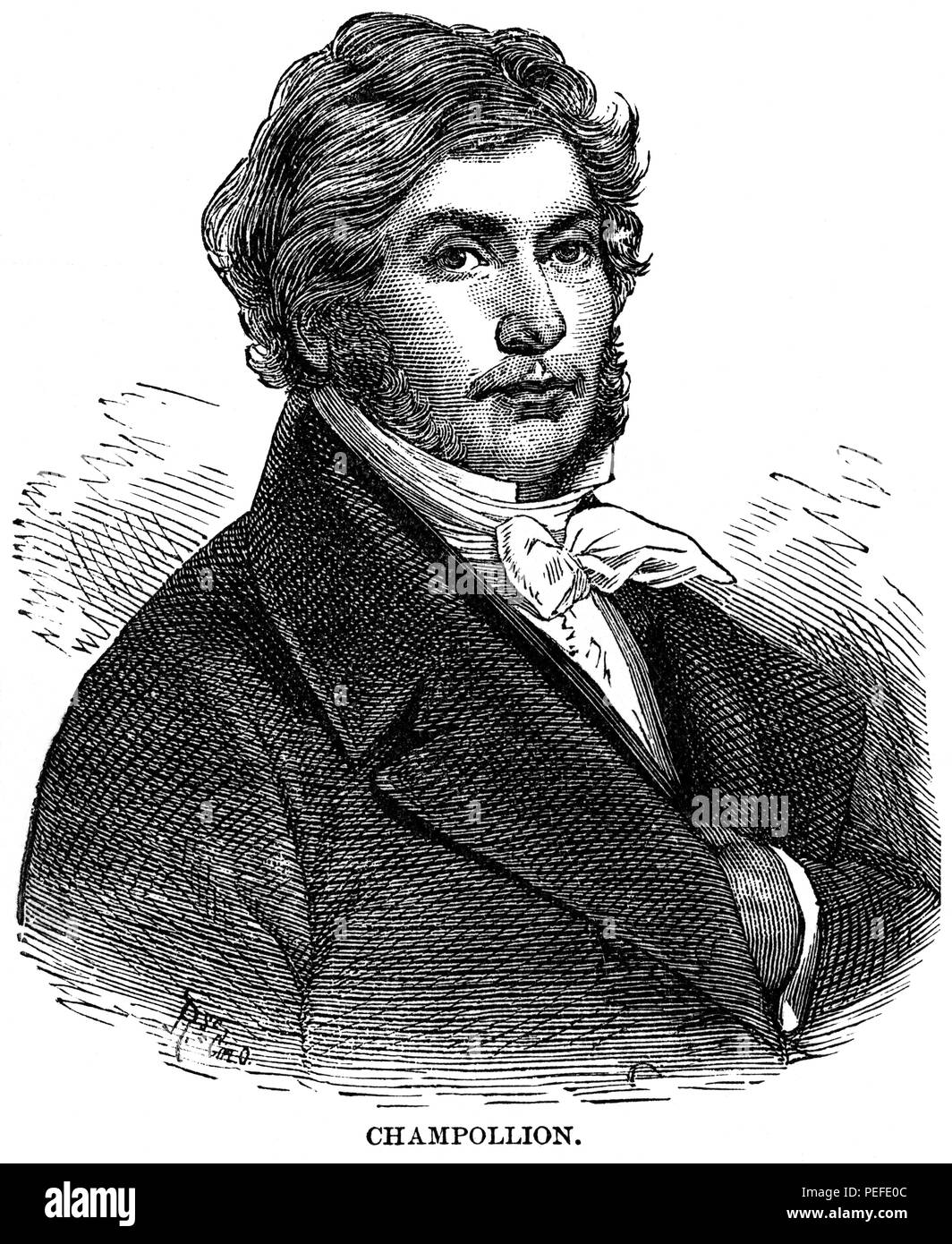 Jean-François Champollion (1790-1832), French Scholar and Philologist, known Primarily as a Decipherer of Egyptian hieroglyphs, Illustration, Cyclopaedia of Universal History, Volume 1, The Ancient World, by John Clark Ridpath, the Jones Brothers Publishing Company, 1885 - Stock Image