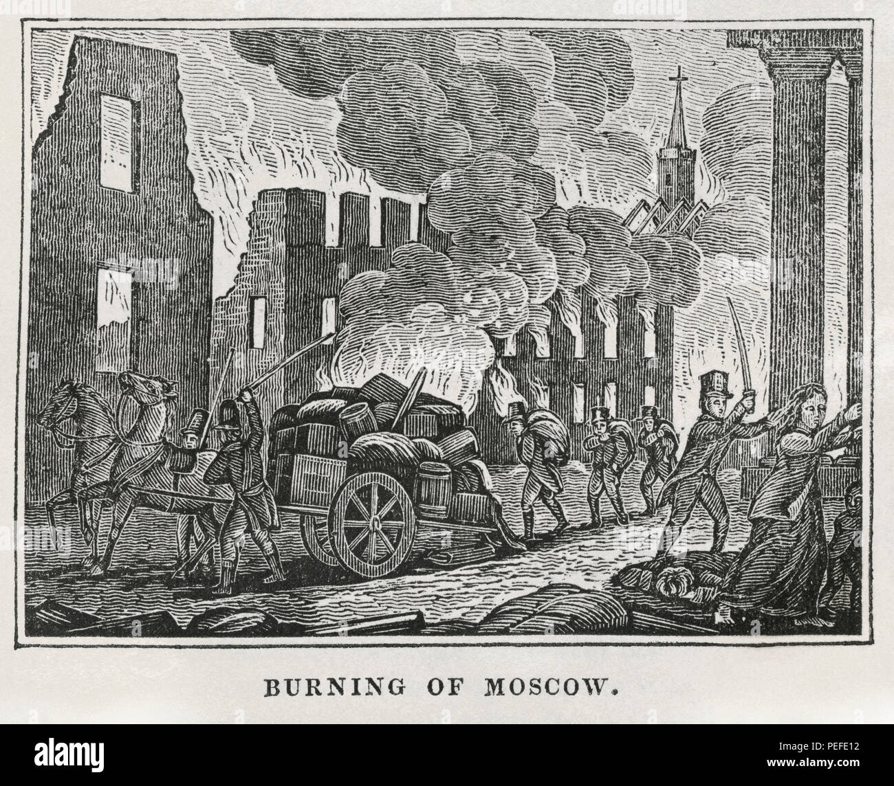 Burning of Moscow, 1812, Illustration from the Book, Historical Cabinet, L.H. Young Publisher, New Haven, 1834 - Stock Image