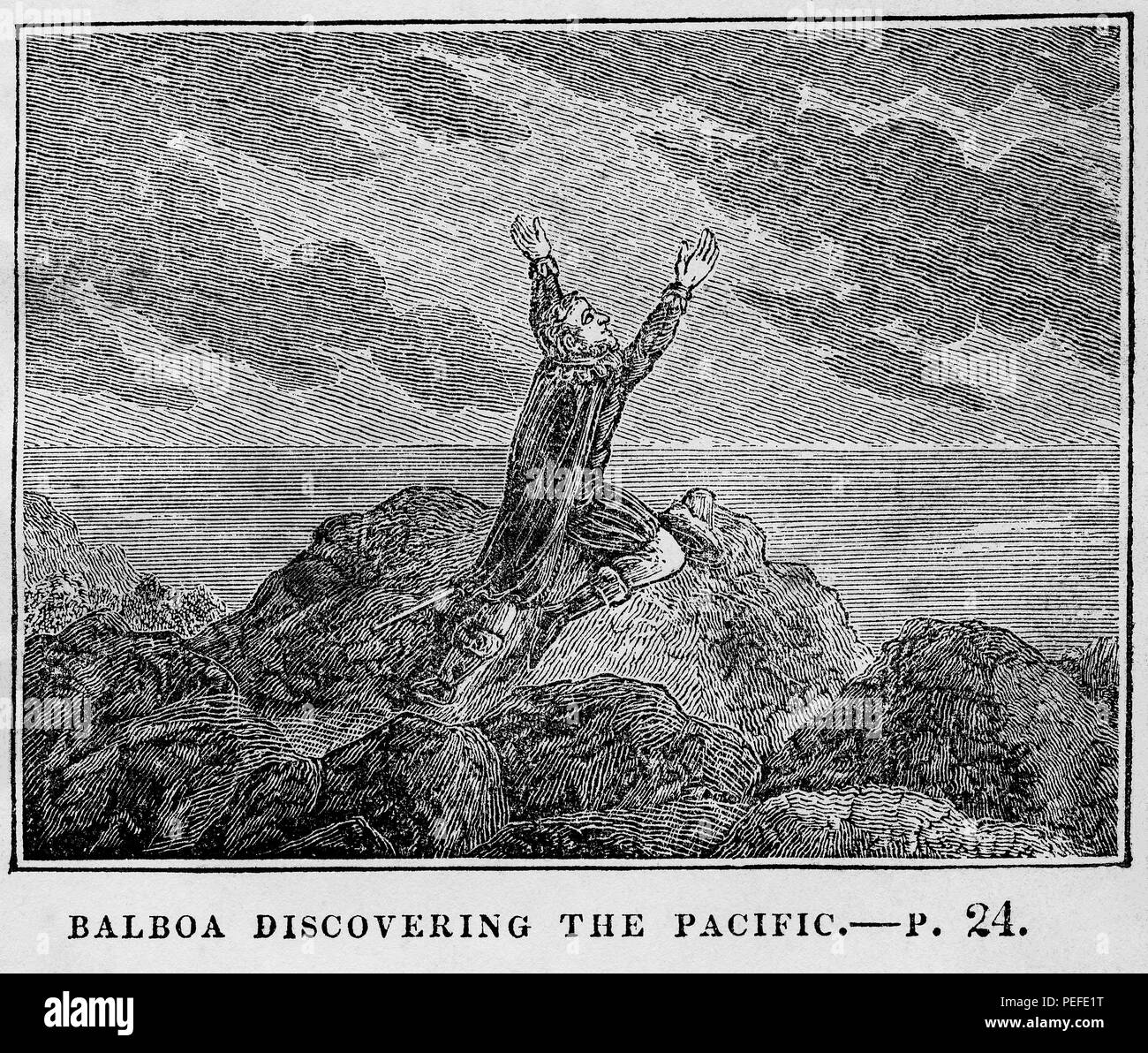 Balboa Discovering the Pacific, Illustration from the Book, Historical Cabinet, L.H. Young Publisher, New Haven, 1834 - Stock Image