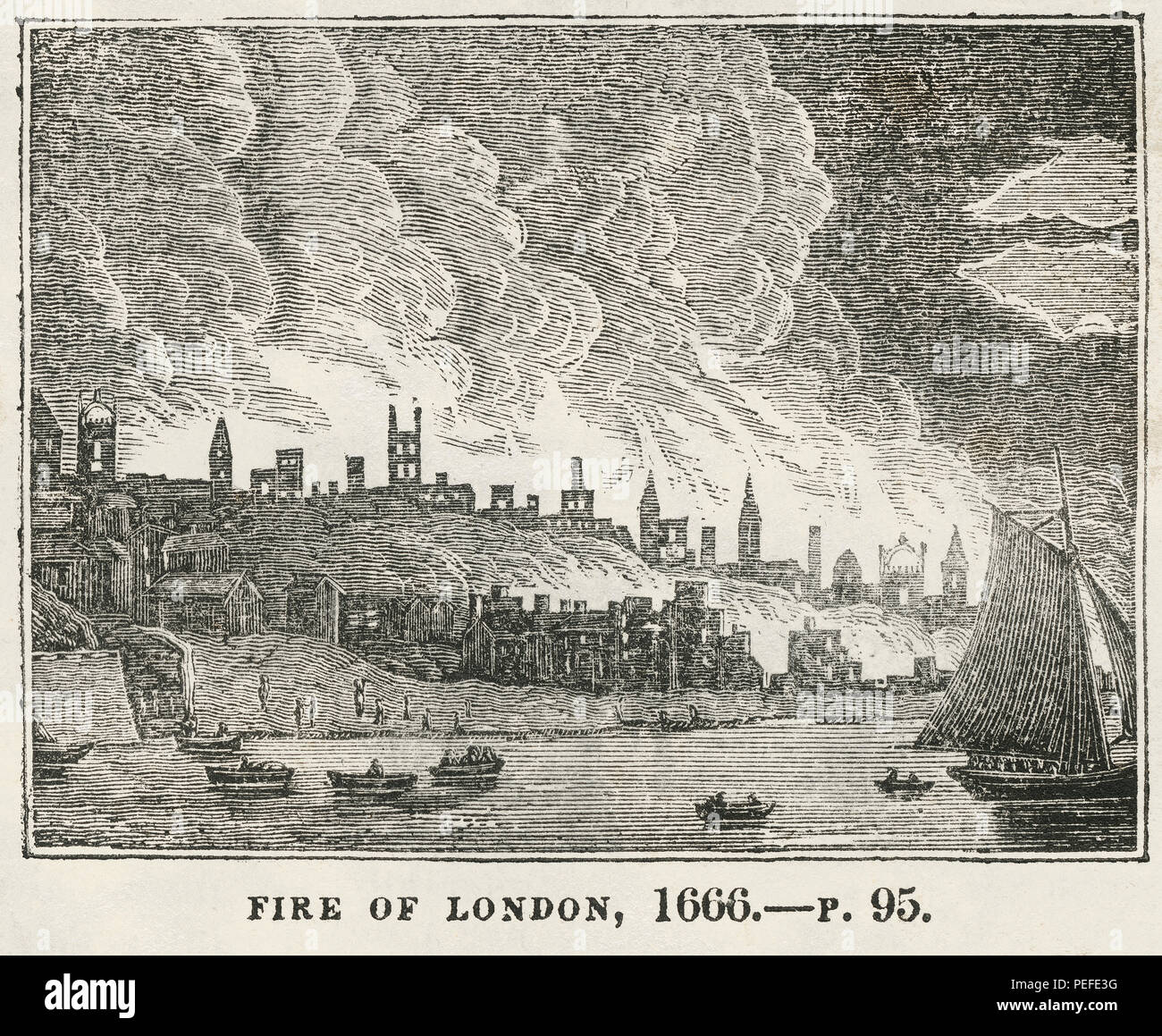 Fire of London, 1666, Illustration from the Book, Historical Cabinet, L.H. Young Publisher, New Haven, 1834 - Stock Image