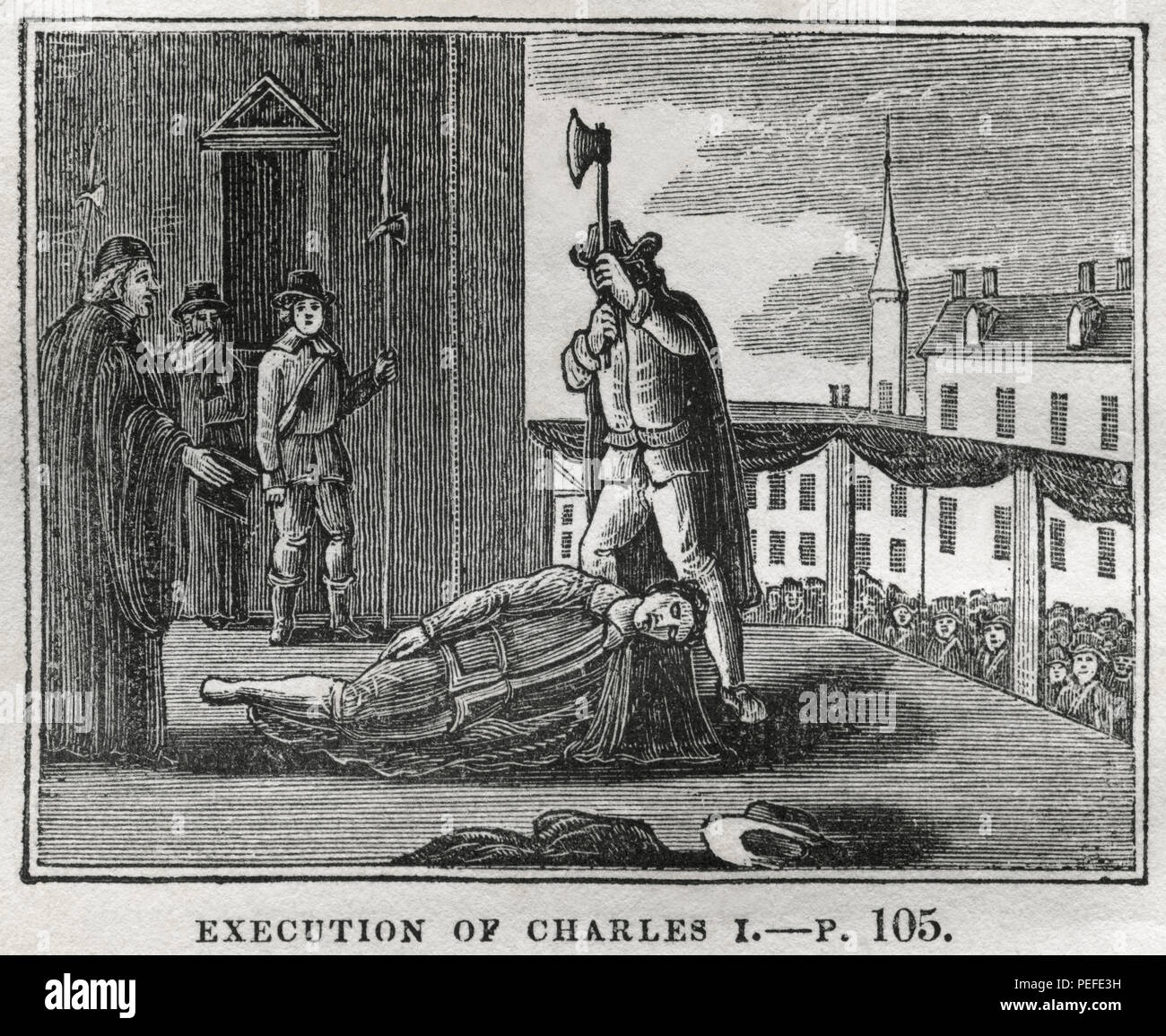 Execution of Charles I, 1649, Illustration from the Book, Historical Cabinet, L.H. Young Publisher, New Haven, 1834 - Stock Image