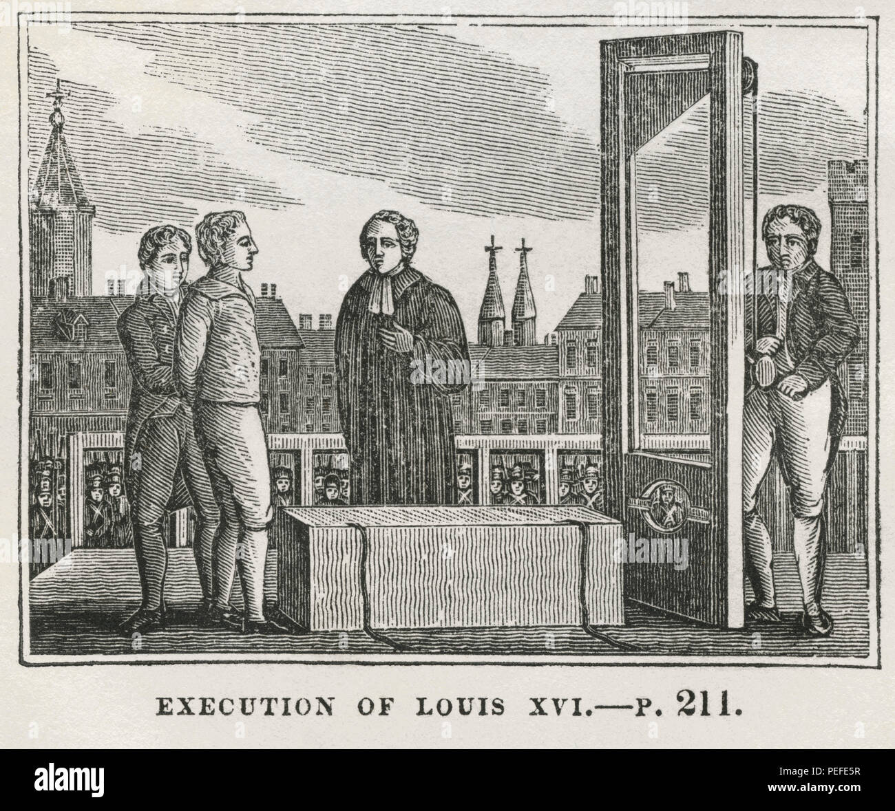 Execution of Louis XVI, Illustration from the Book, Historical Cabinet, L.H. Young Publisher, New Haven, 1834 - Stock Image