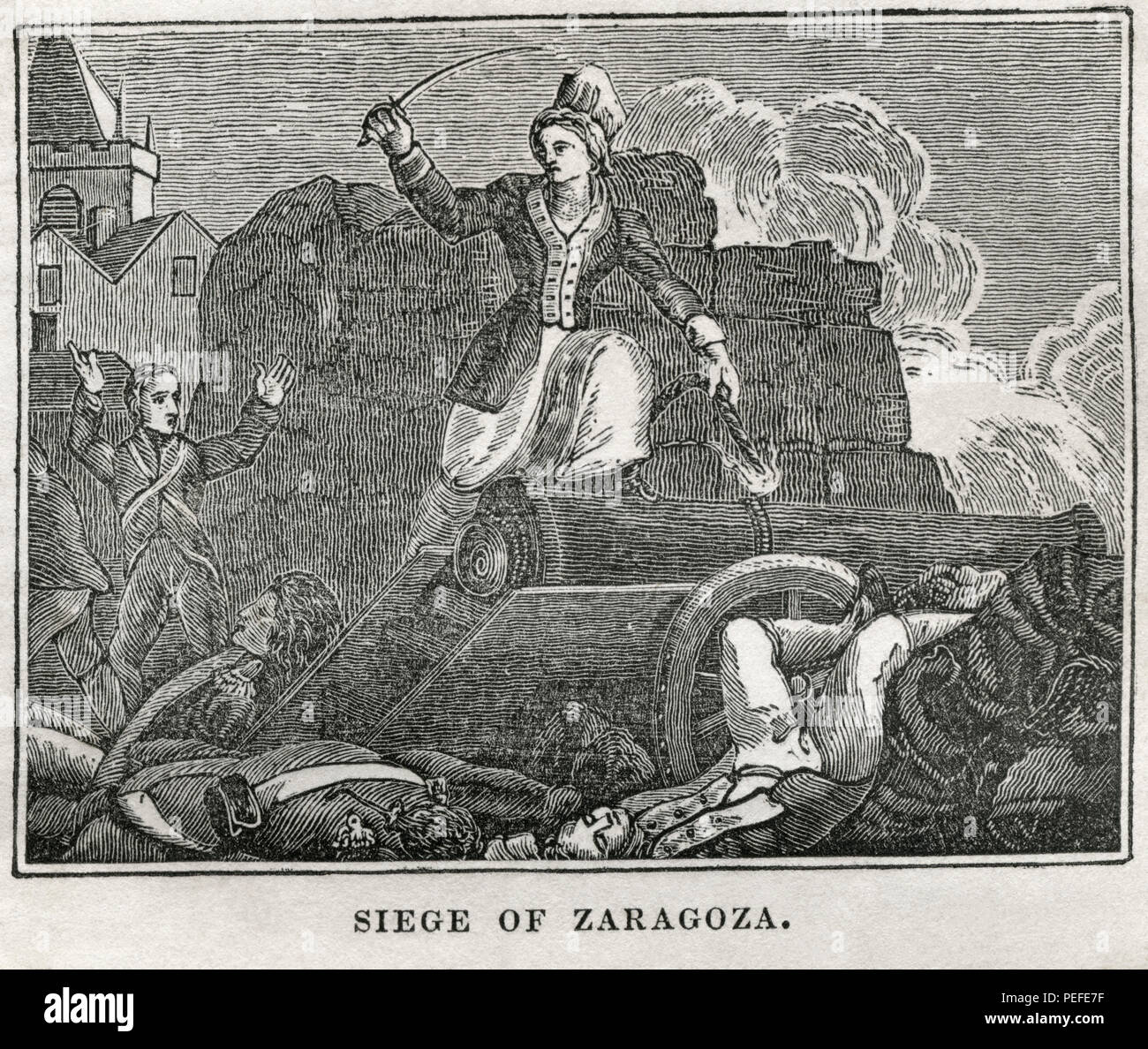 Siege of Zaragoza, Illustration from the Book, Historical Cabinet, L.H. Young Publisher, New Haven, 1834 - Stock Image