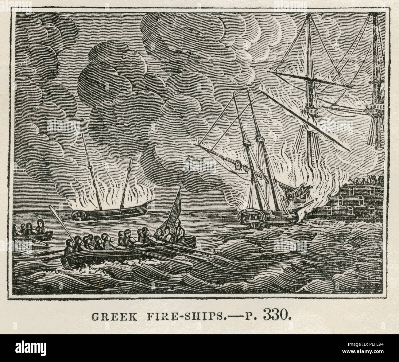 Greek Fire-Ships, Illustration from the Book, Historical Cabinet, L.H. Young Publisher, New Haven, 1834 - Stock Image