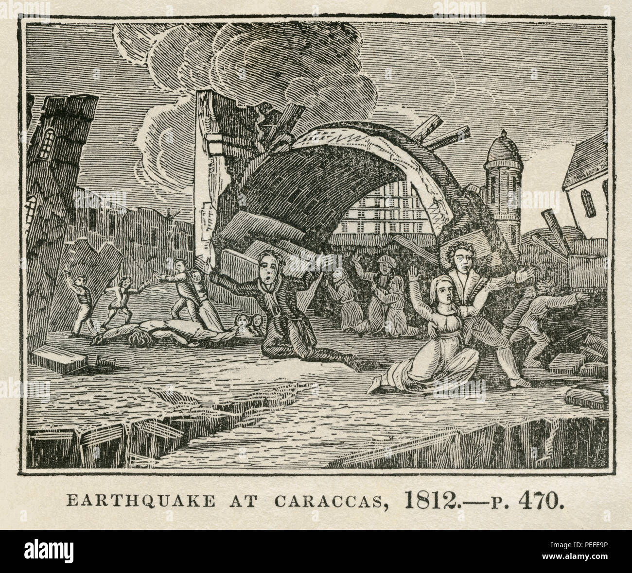 Earthquake at Caracas, 1812,  Illustration from the Book, Historical Cabinet, L.H. Young Publisher, New Haven, 1834 - Stock Image