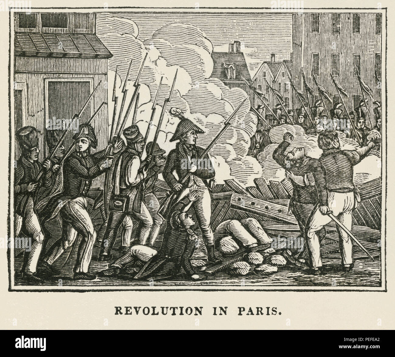 Revolution in Paris, Illustration from the Book, Historical Cabinet, L.H. Young Publisher, New Haven, 1834 - Stock Image