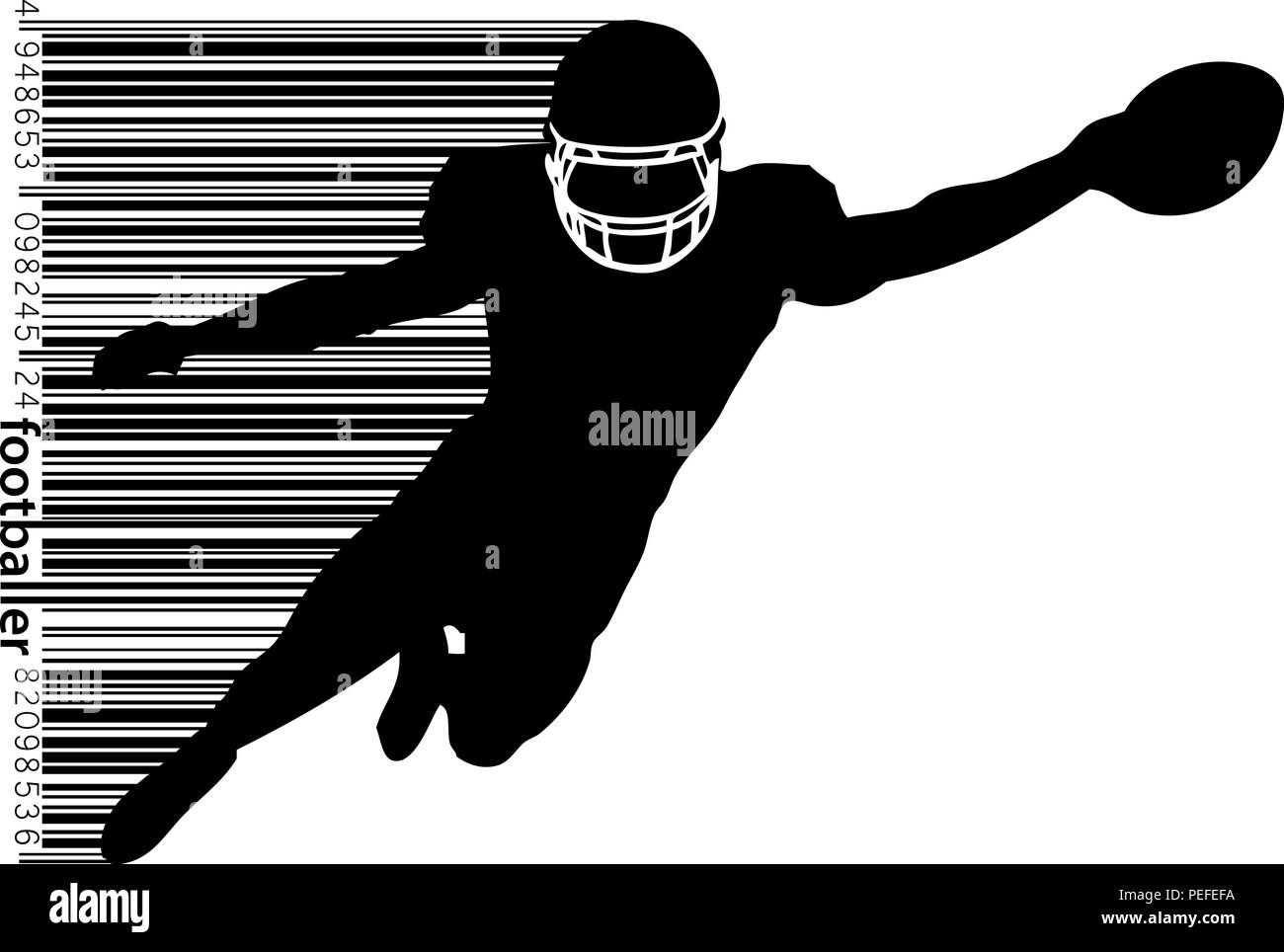 silhouette of a football player and barcode. Rugby. American footballer - Stock Image