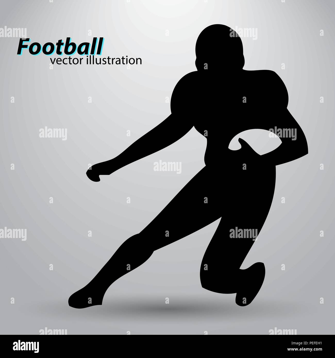 silhouette of a football player. Rugby. American footballer - Stock Vector