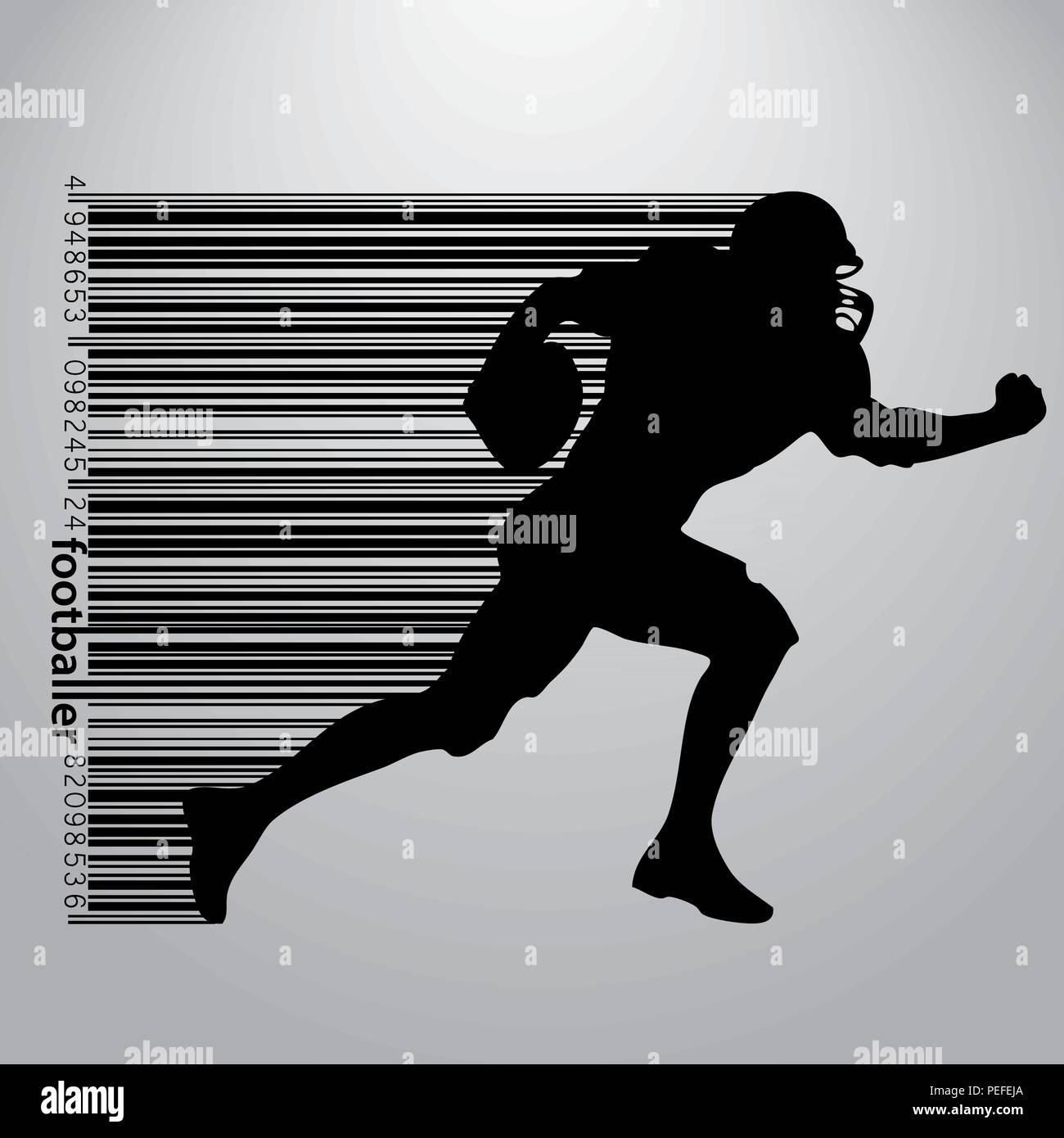 silhouette of a football player and barcode. Rugby. American footballer - Stock Vector