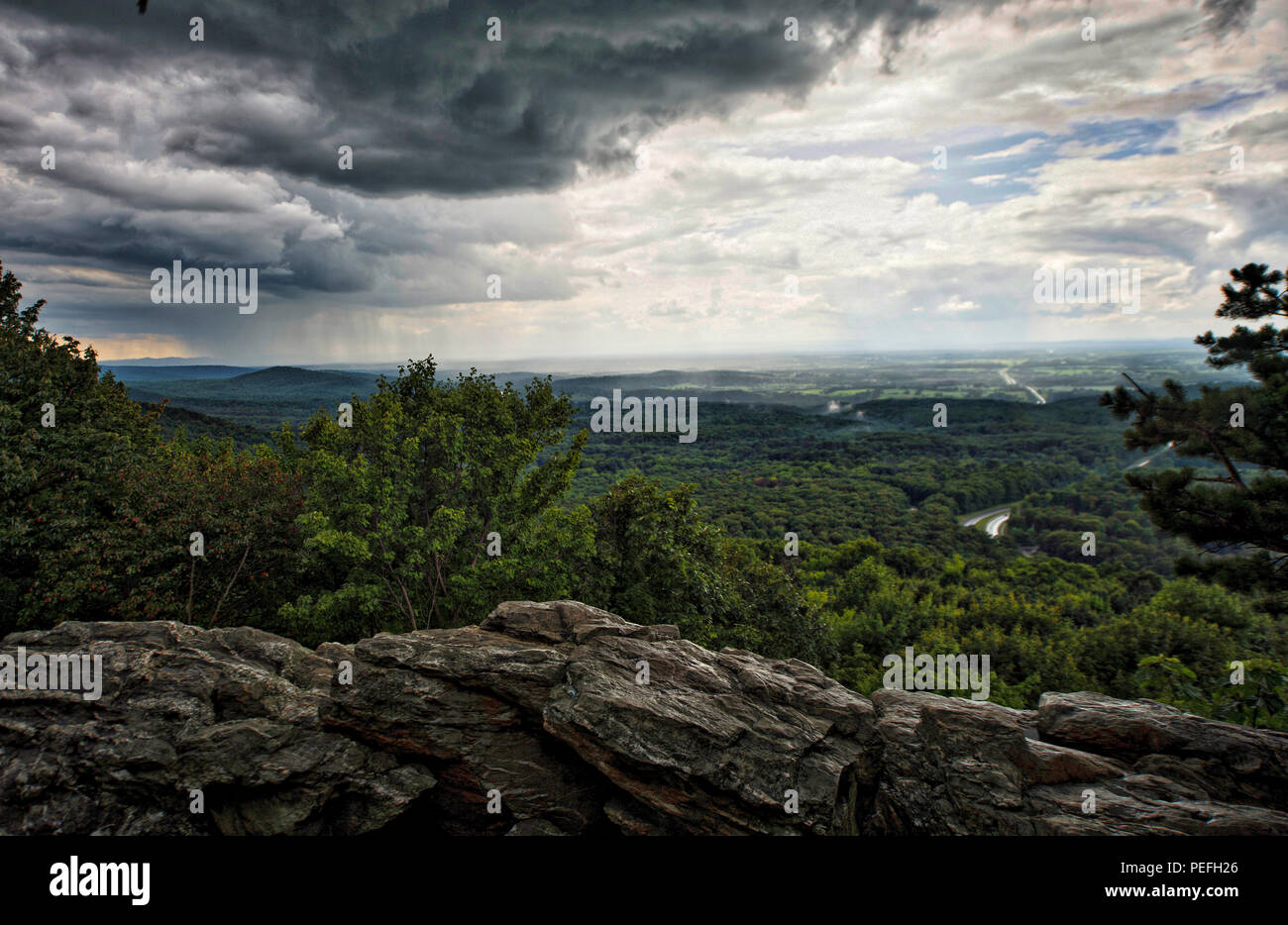 UNITED STATES - August 14, 2018: Storm clouds roll in during the afternoon heat at Bears Den in the blue ridge mountains along the Appalachian Trail i - Stock Image