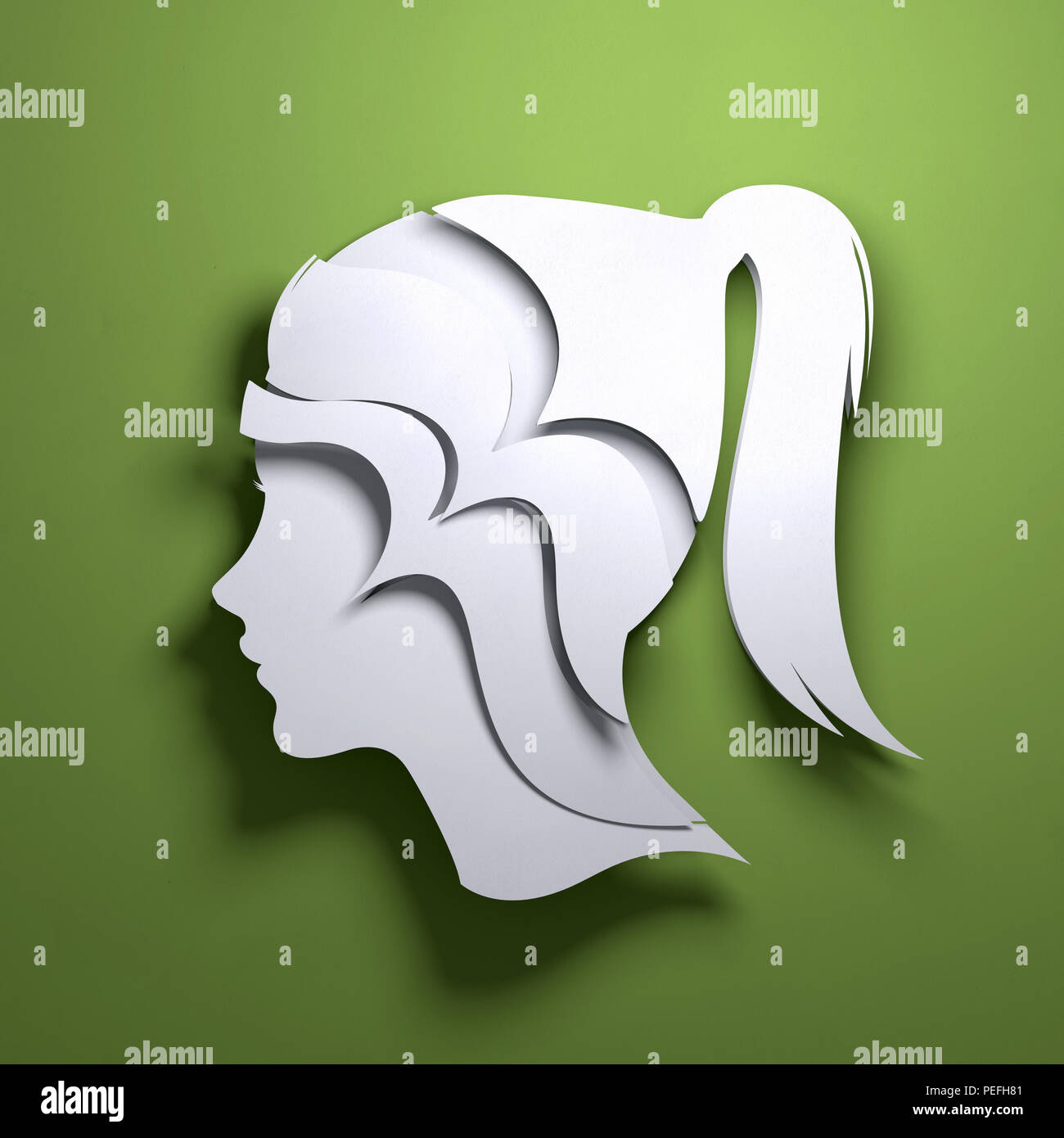 Folded Paper art origami. A silhouette of a persons head. Conceptual mindfulness 3D illustration. - Stock Image