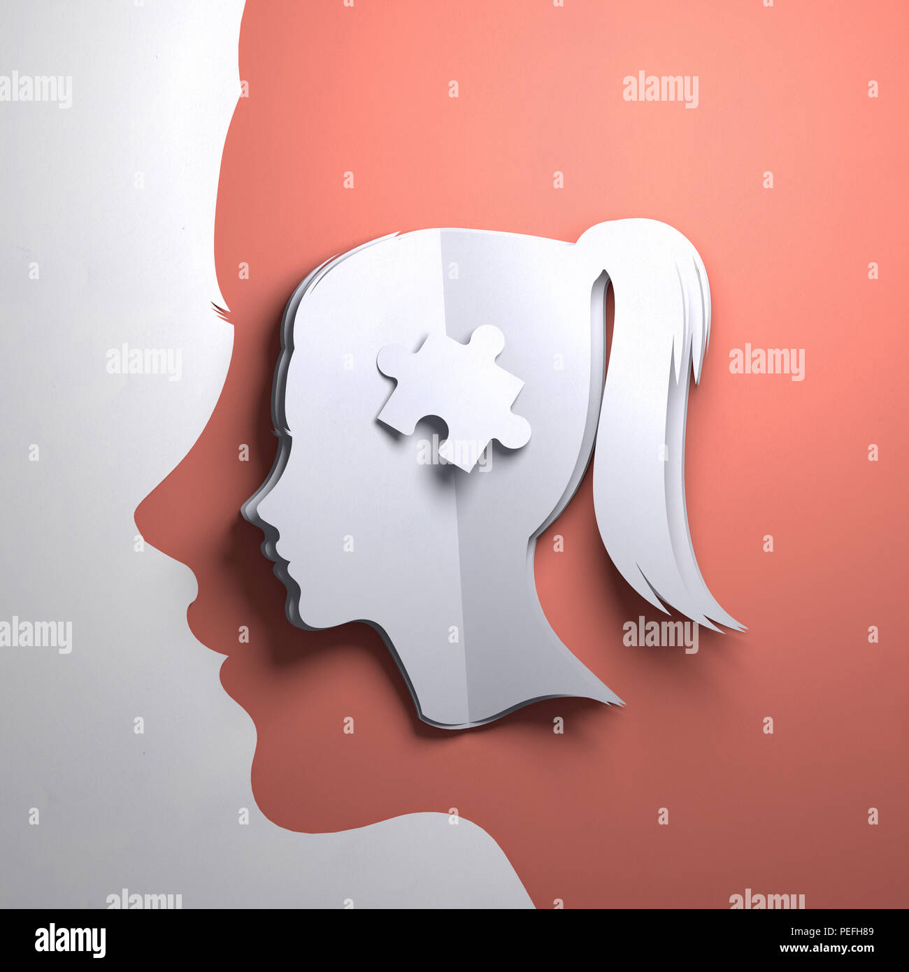 Folded Paper art origami. A silhouette of a womens head with a puzzle piece. Conceptual mindfulness 3D illustration. - Stock Image