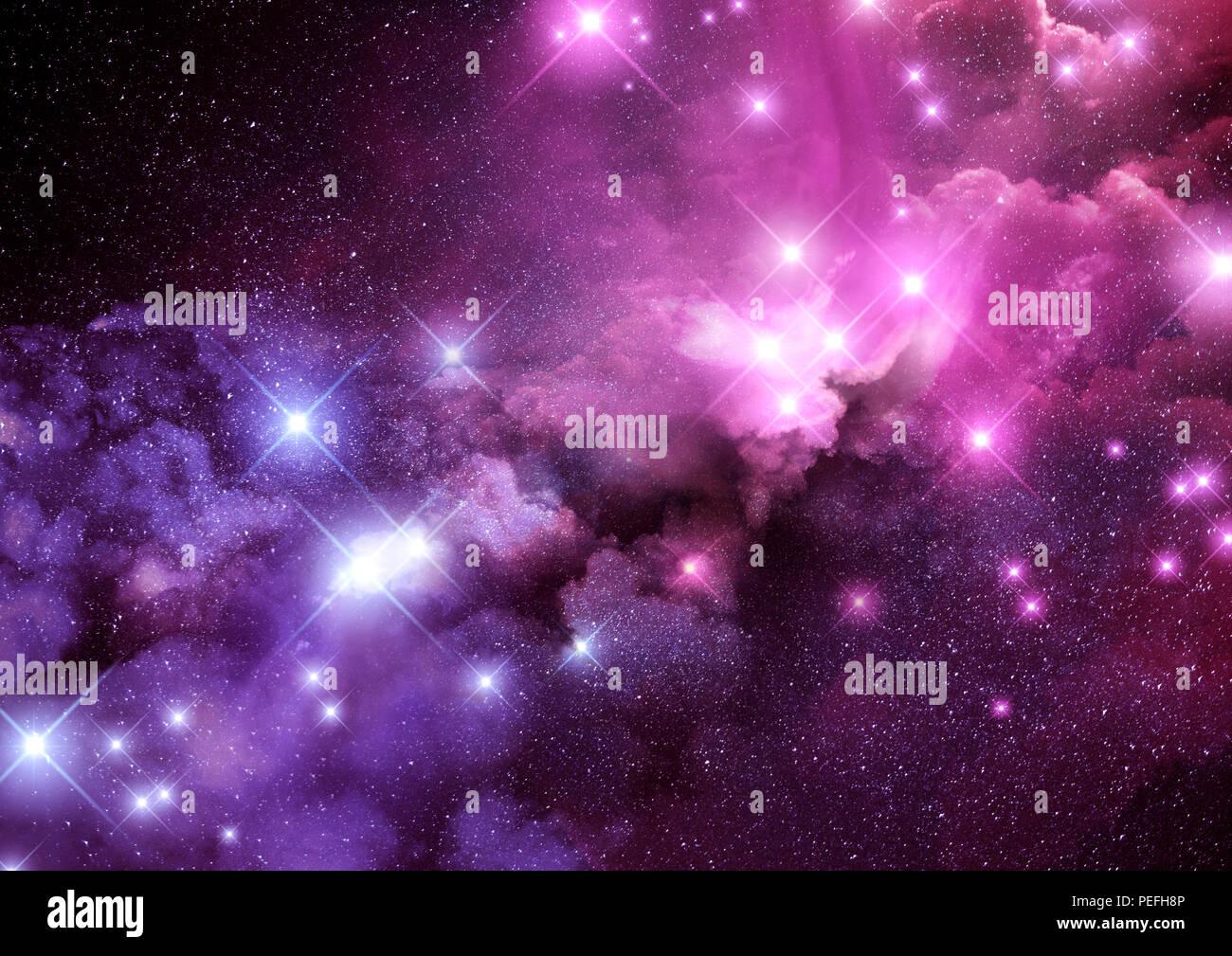 pink and purple galaxy nebula and stars background raster
