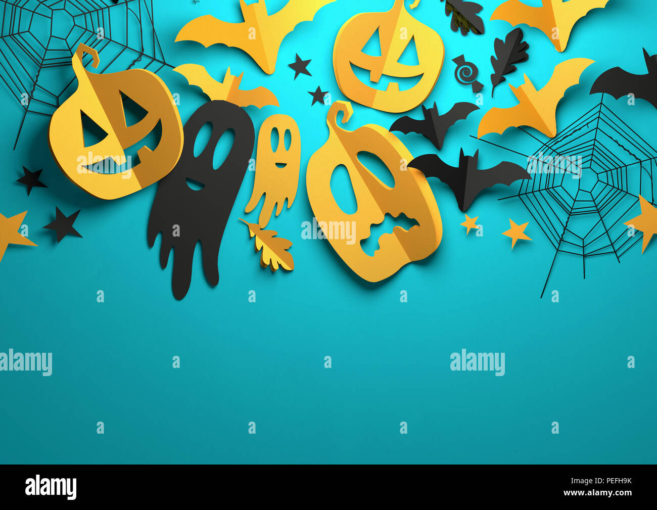 Folded Paper art origami. Halloween background with cut out pumpkins, paper bats, ghosts and other decorations with room for text. 3D illustration. - Stock Image