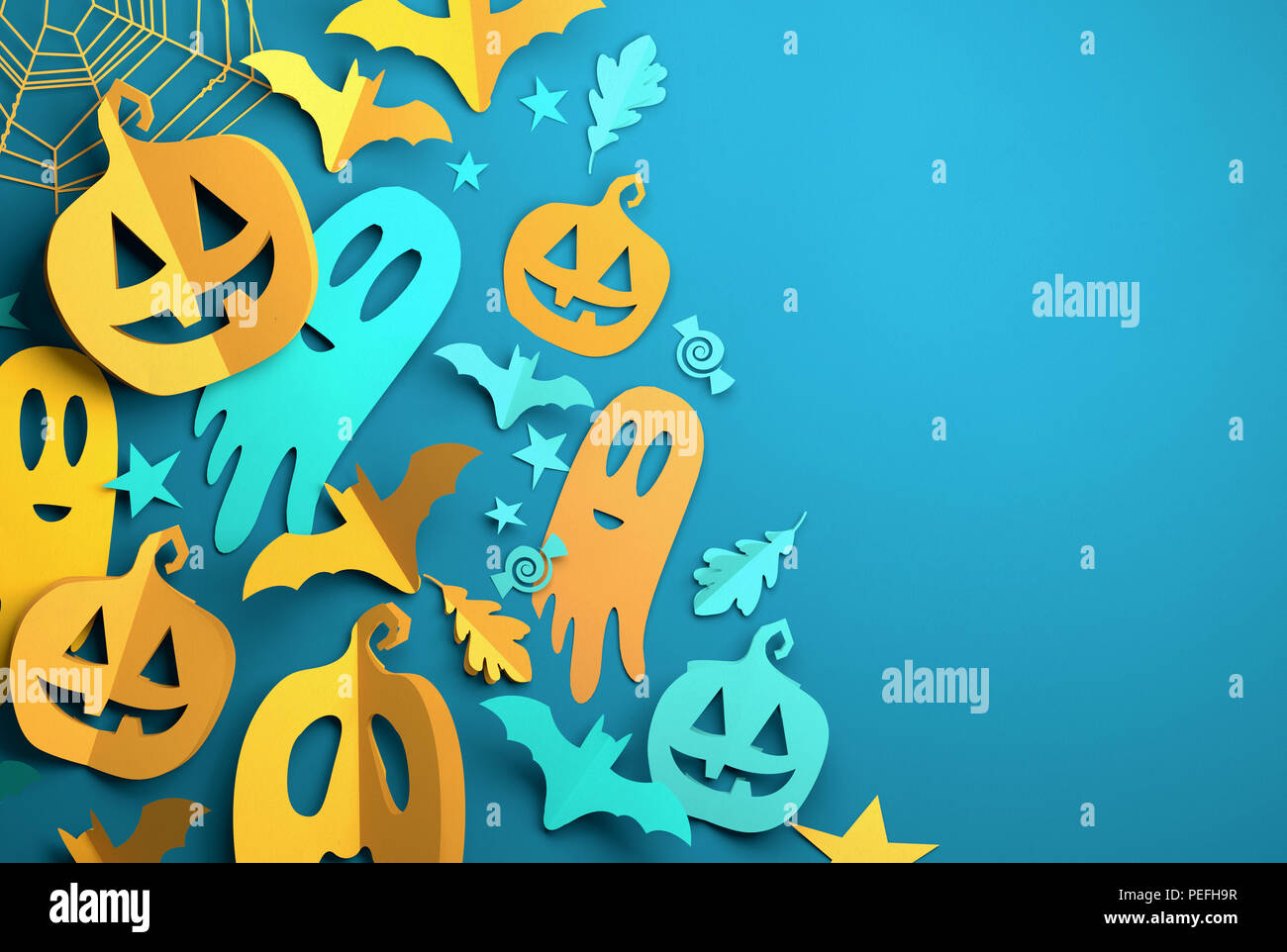 Folded Paper art origami. Blue Halloween background with cut out pumpkins, paper bats, ghosts and other decorations with room for text. 3D illustratio - Stock Image