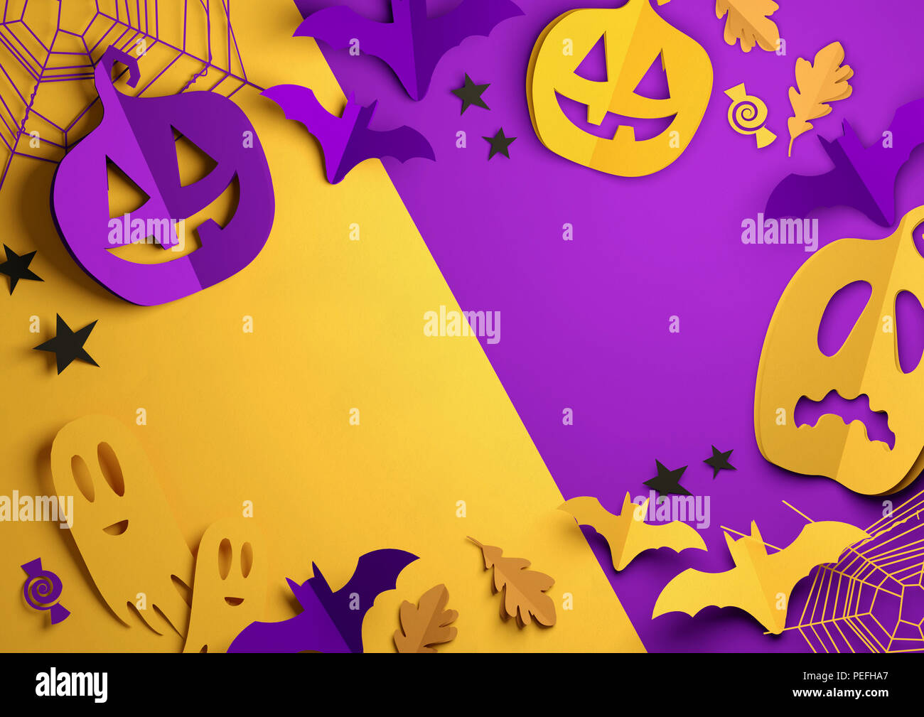 Folded Paper art origami. Purple and Orange Halloween background with cut out pumpkins, paper bats, ghosts and other decorations. 3D illustration. - Stock Image