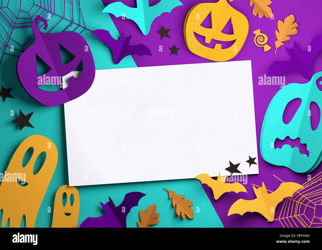 Folded Paper art origami. Purple, Orange and cyan Halloween background with cut out pumpkins, paper bats, ghosts and other decorations with room for t - Stock Image