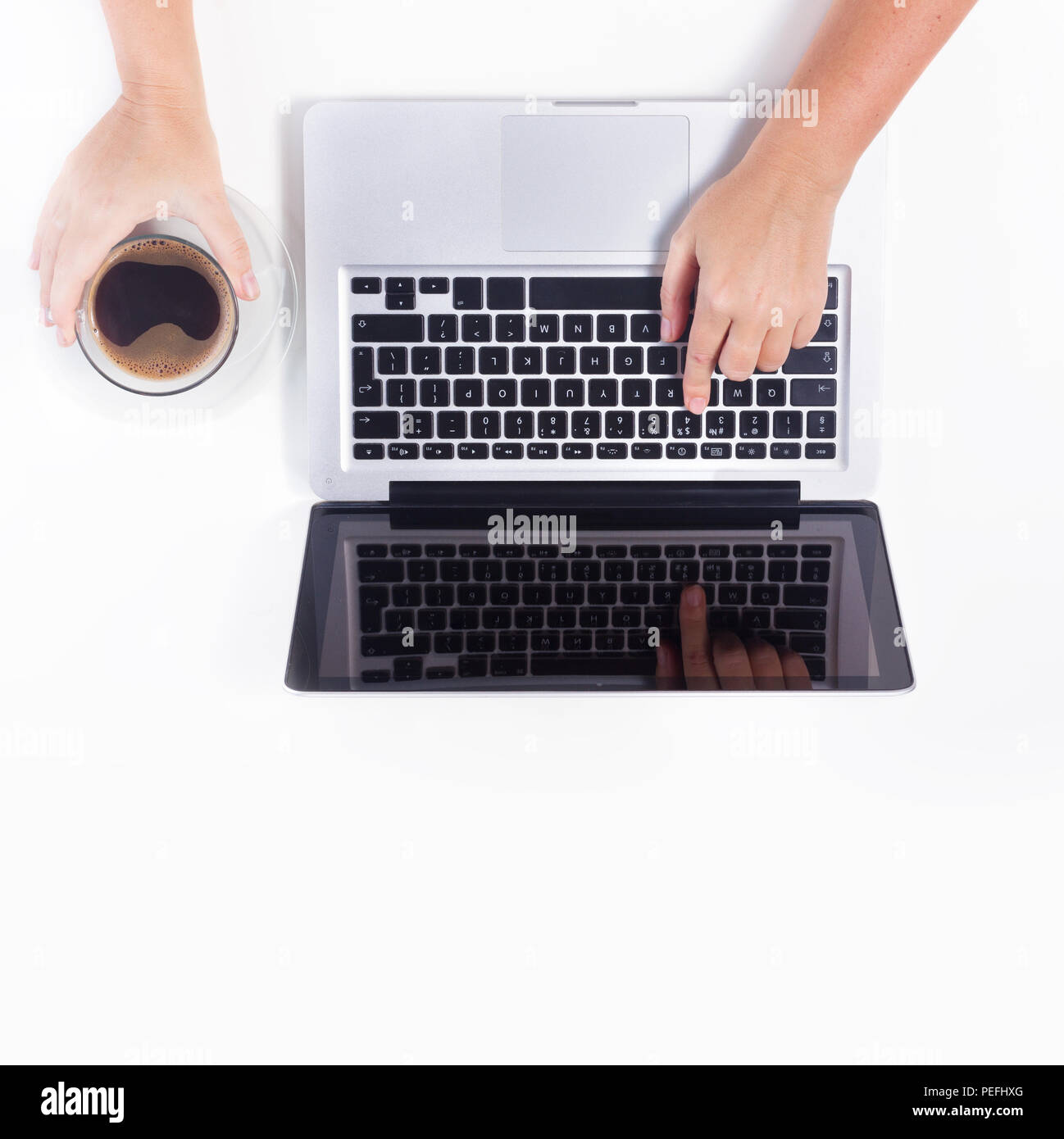 someones hands and latop stock photo 215472952 alamy