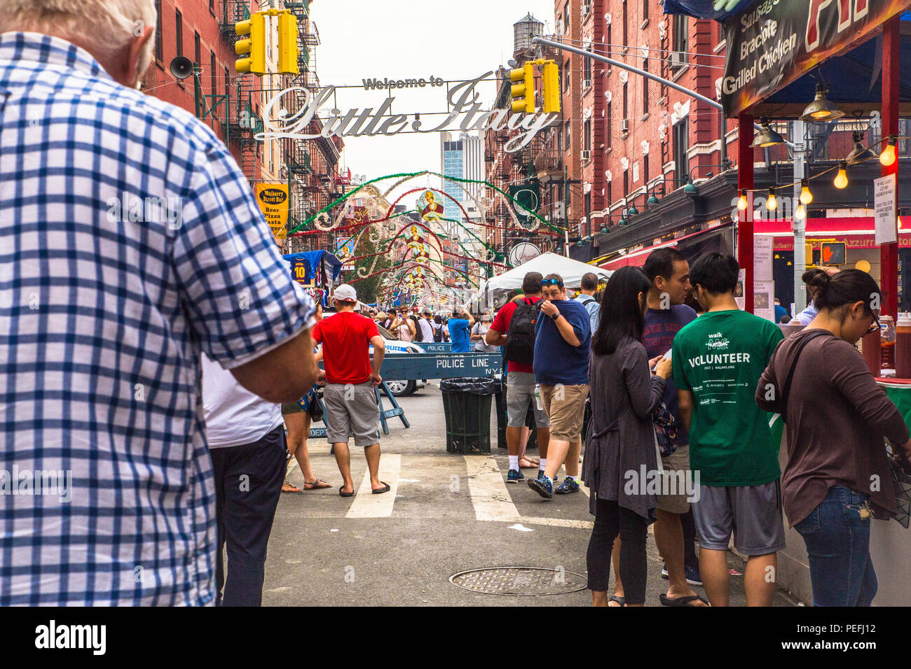 New York City, New York - September 21, 2017:  View of New York City Little Italy in downtown Manhattan of the Annual Feast of San Gennaro with food v - Stock Image