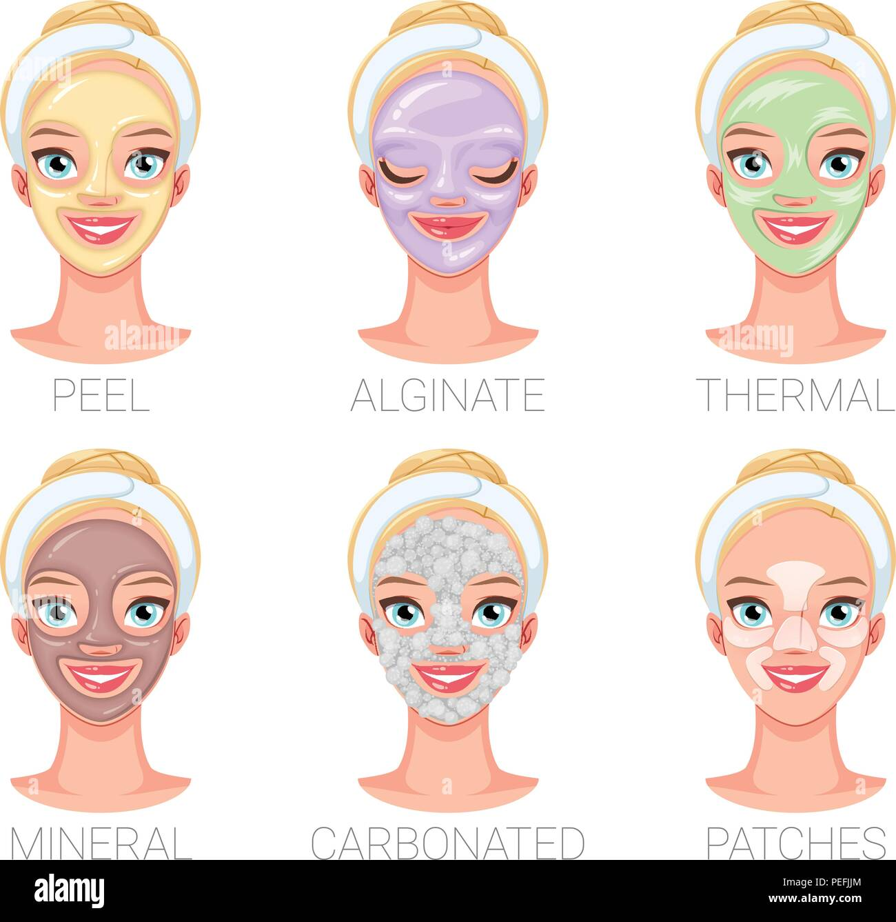 Woman With Different Skincare Facial Mask Types Set Of Vector Illustrations Stock Vector Image Art Alamy