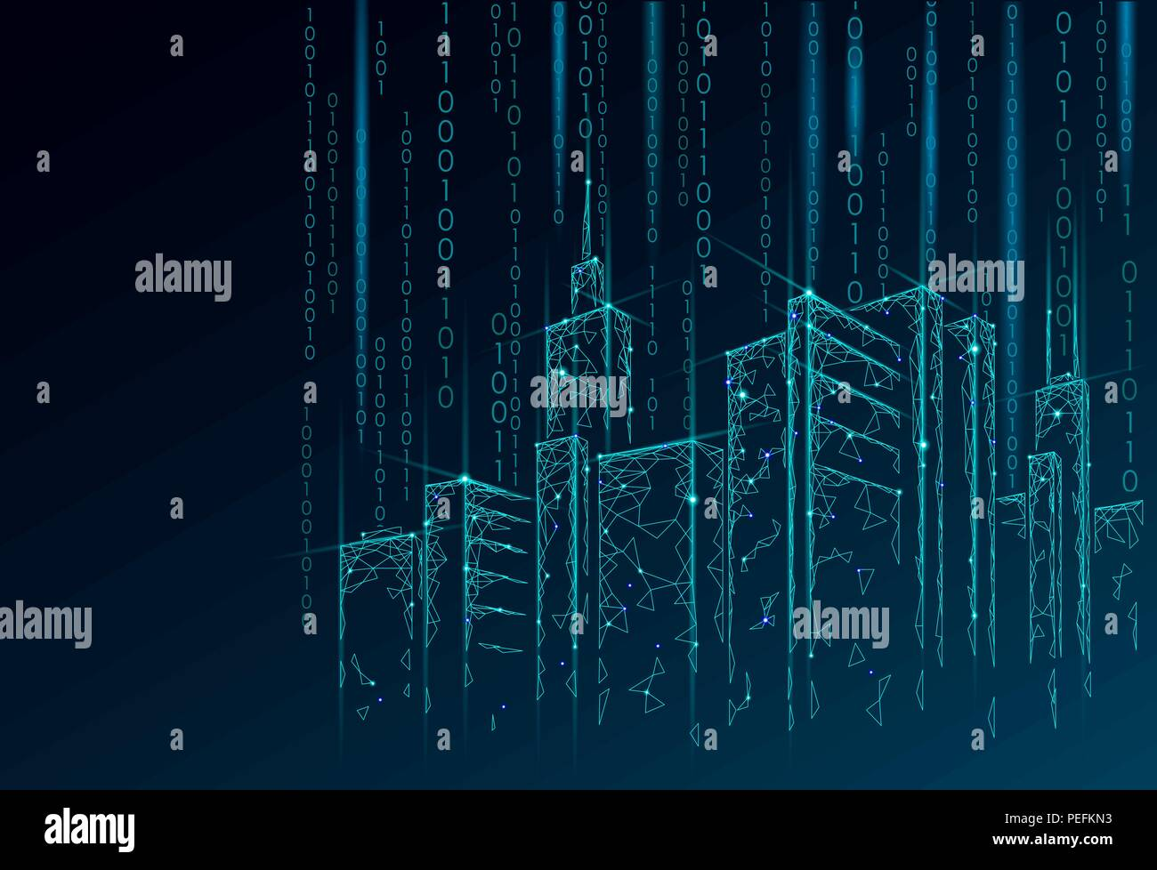 Low Poly Smart City 3d Wire Mesh Intelligent Building Automation Electrical Wiring Numbering System Business Concept Binary Code Number Data Flow Architecture Urban Cityscape