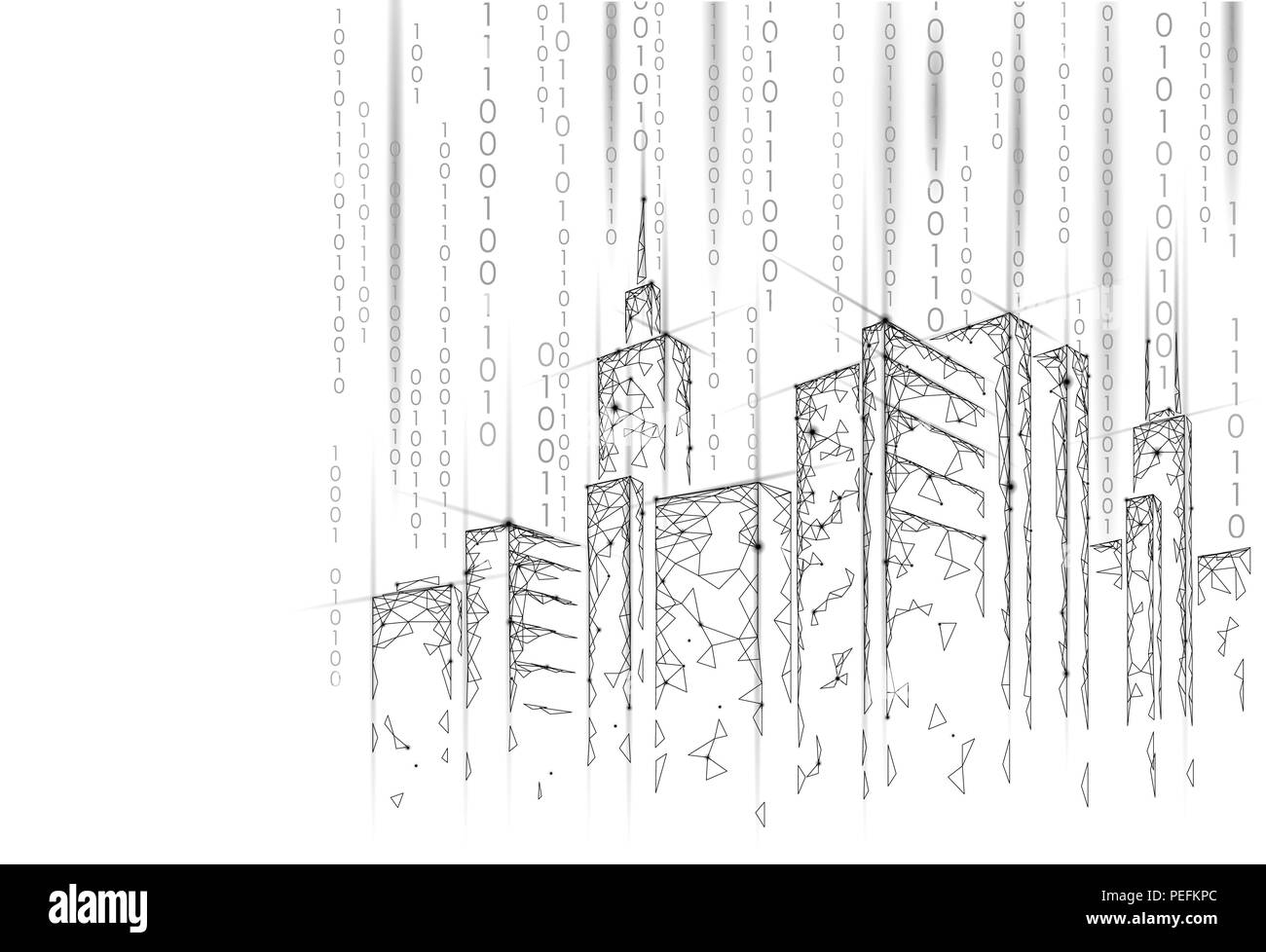 Low poly smart city 3D wire mesh. Intelligent building automation system business concept. Binary code number data flow. Architecture urban cityscape technology sketch banner vector illustration - Stock Image
