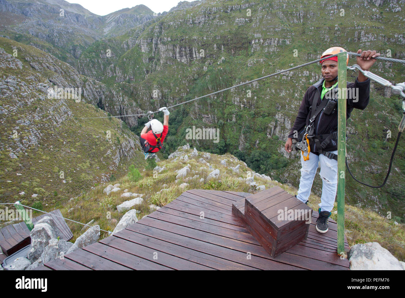 Zip lining in the Hottentots Holland Nature Reserve, Suicide Gorge, South Africa - Stock Image