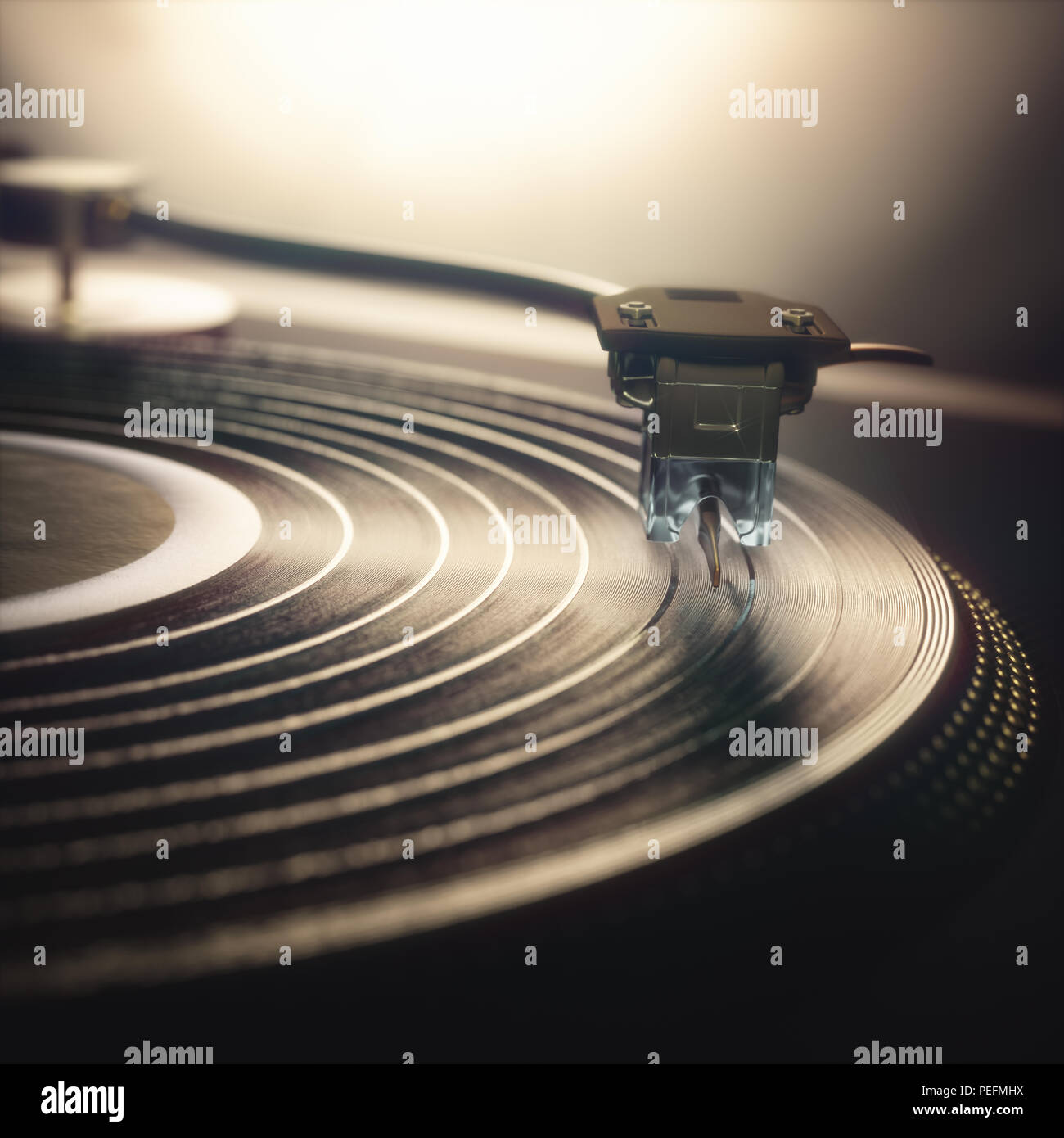 3D illustration. Vinyl record being played on old retro vintage disc jockey device. - Stock Image