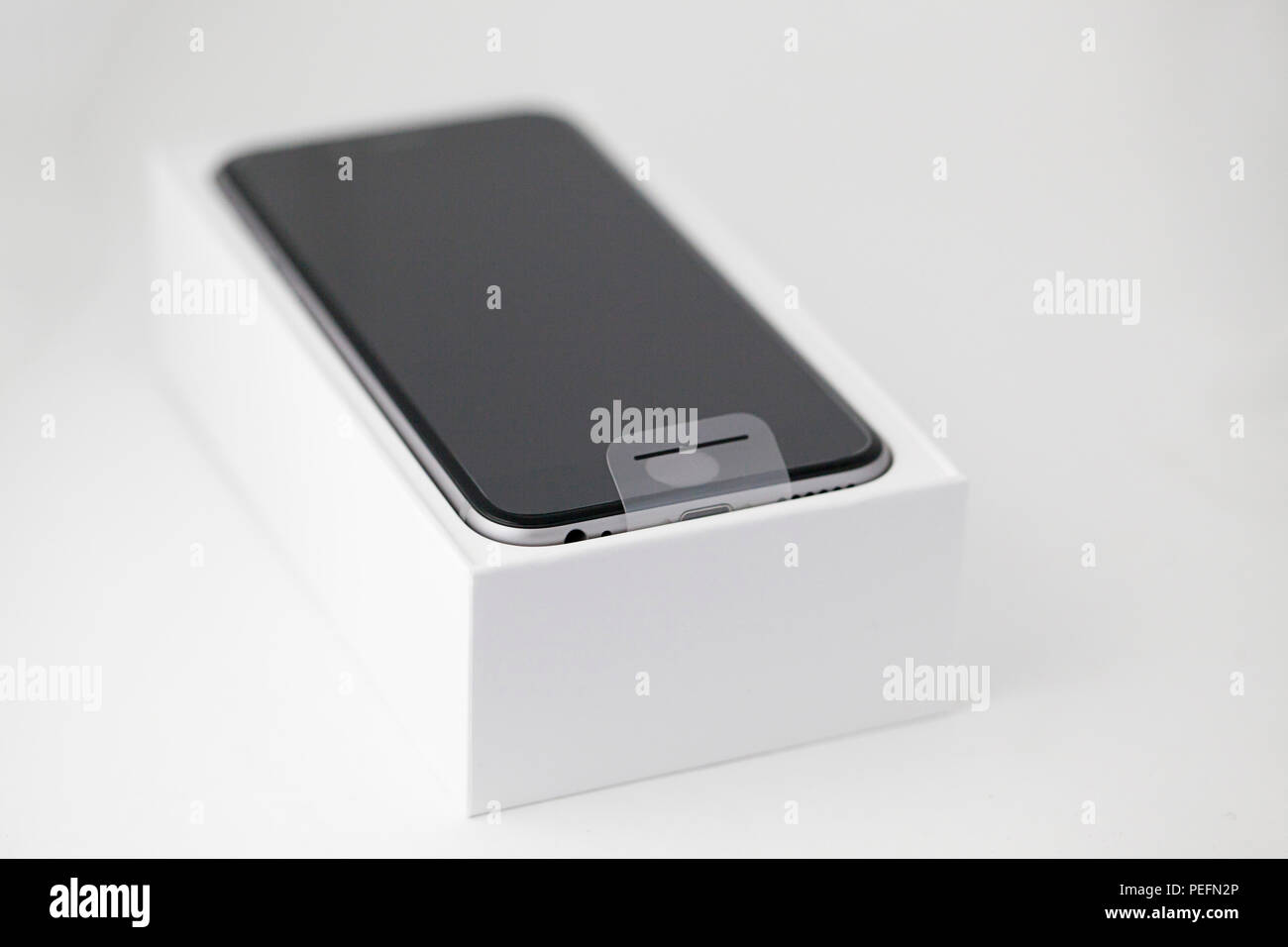 New Apple iPhone 6 in its box Stock Photo