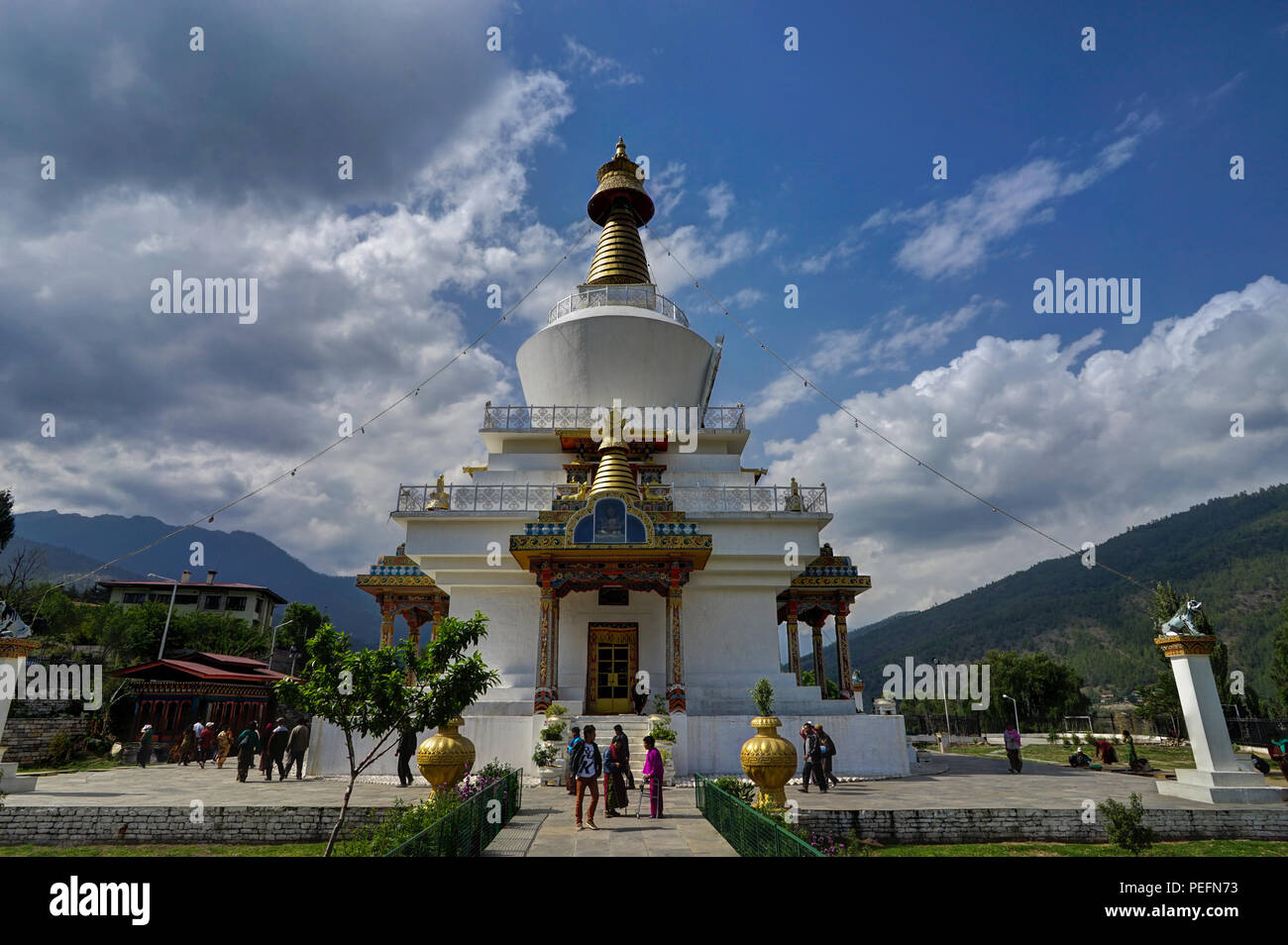 Beautiful view of Buddhism religion with Dzongh and Tigers Nest on a sunny day. Photo taken in Bhutan and showing unique culture and religion. Stock Photo