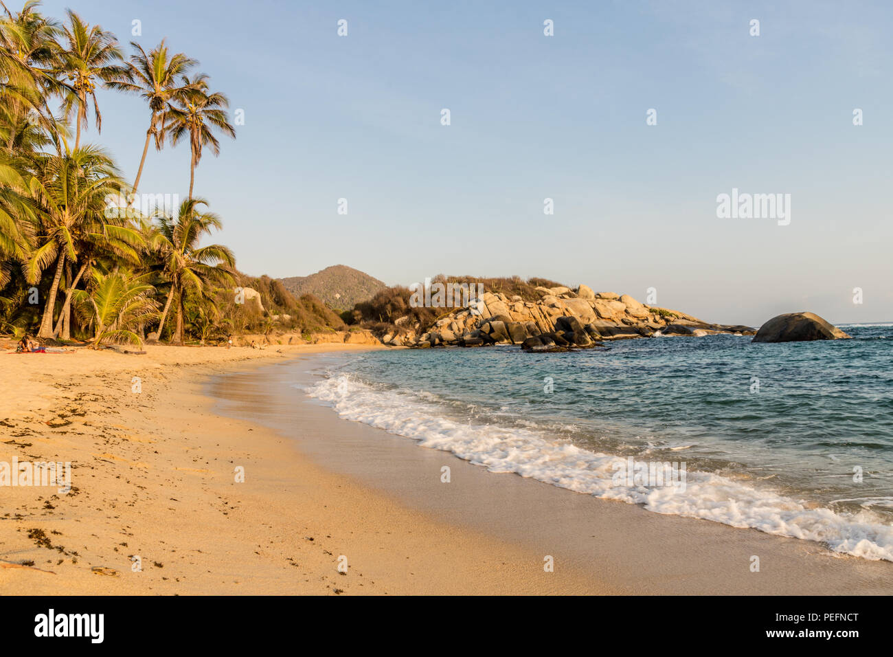 A typical view in Tayrona National Park Colombia - Stock Image