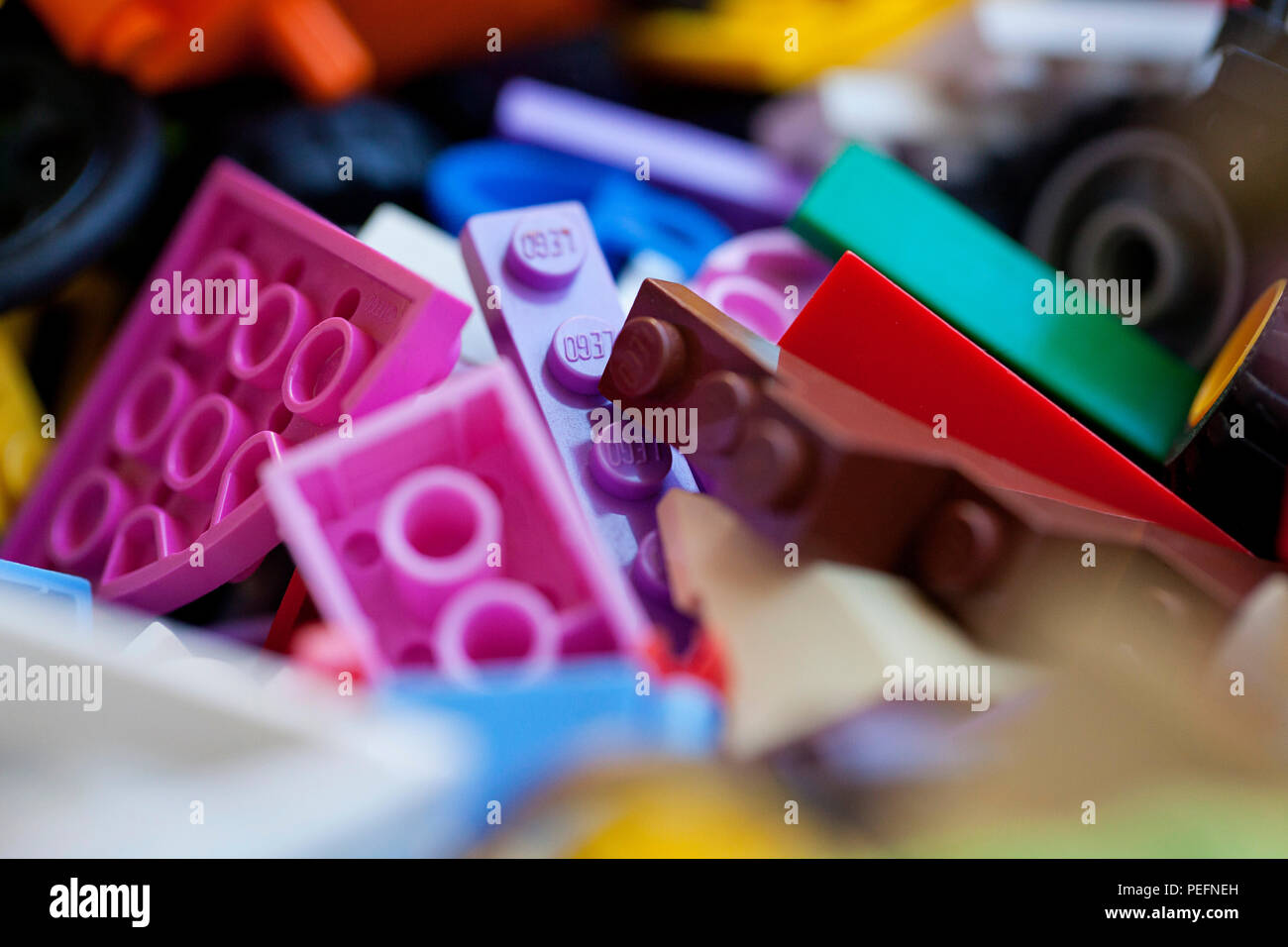 Close up of plastic lego pieces Stock Photo