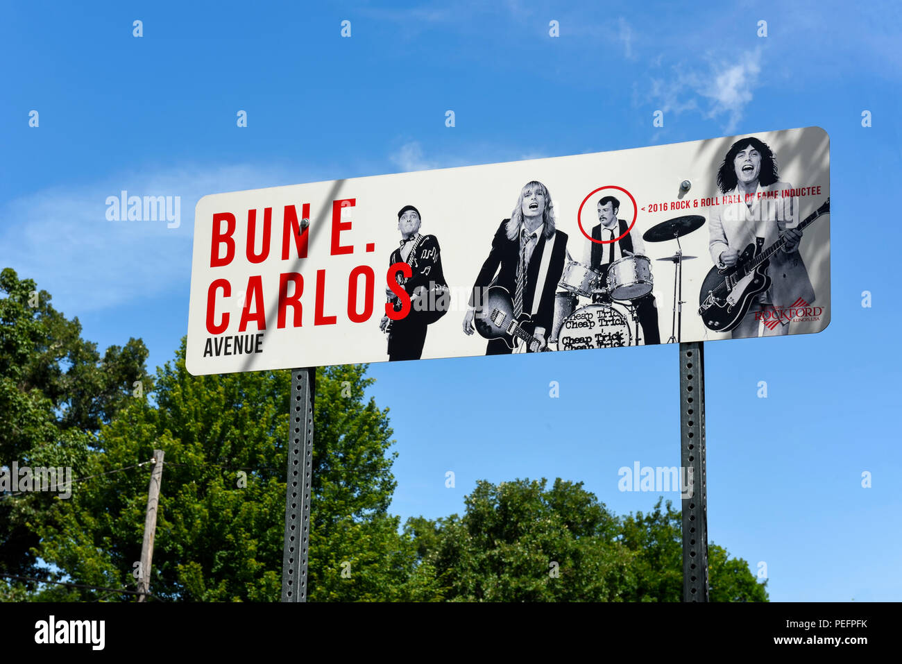 The Bun E Carlos of the Band Cheap Trick Sign in Rockford, Illinois - Stock Image