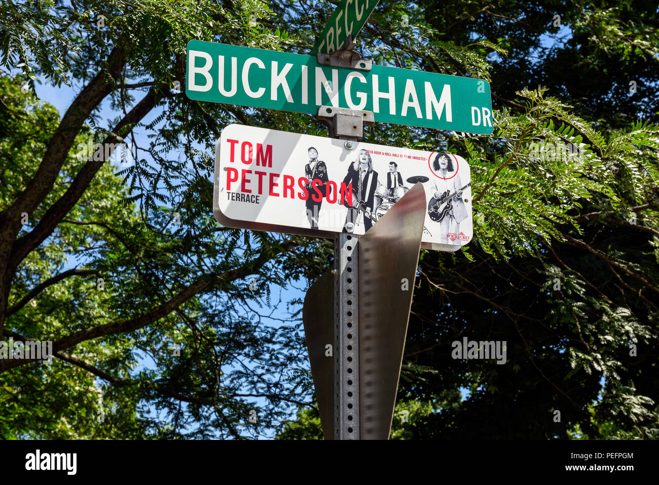 In Rockford Illinois the Rock n Roll Hall of Fame band Cheap Trick members have streets named after them. RebeccaTom Petersson terrace. - Stock Image