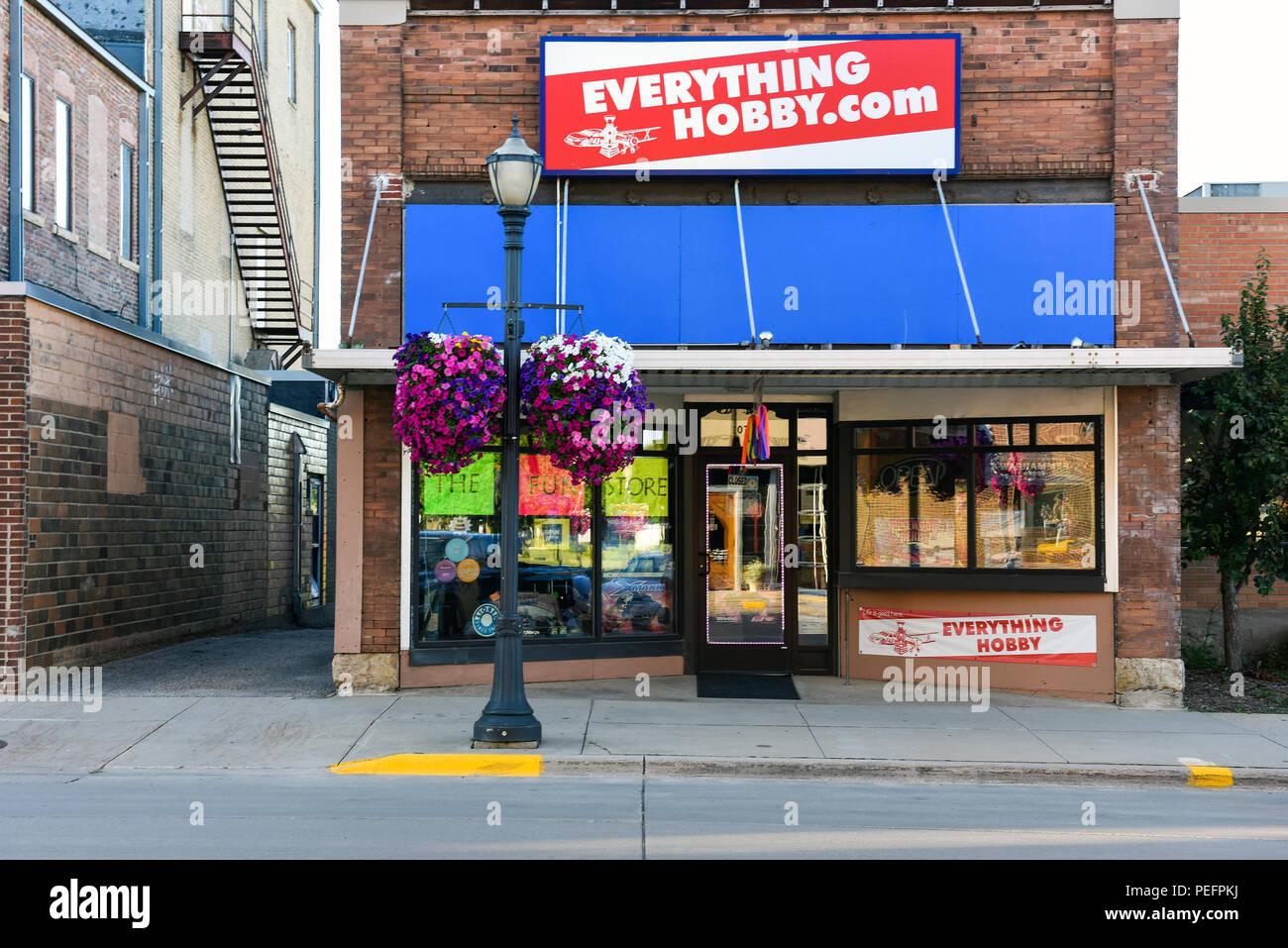 A hobby store on Main Street in Austin, Minnesota - Stock Image