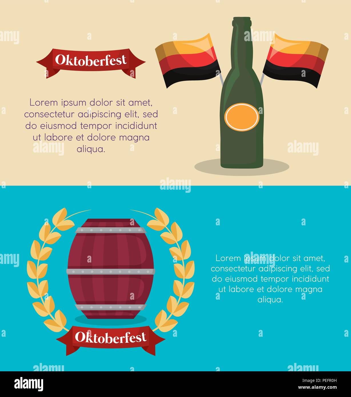 infographic of oktoberfest concept with germany flags and beer bottle icon, colorful design. vector illustration - Stock Image