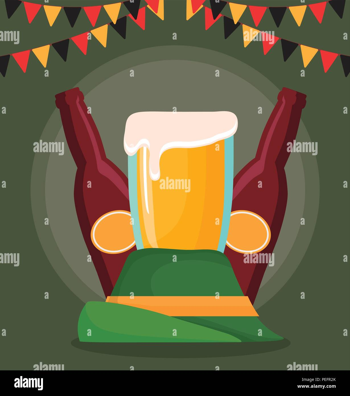 Oktoberfest festival design with alpine hat and beers over green background 88709b467b6