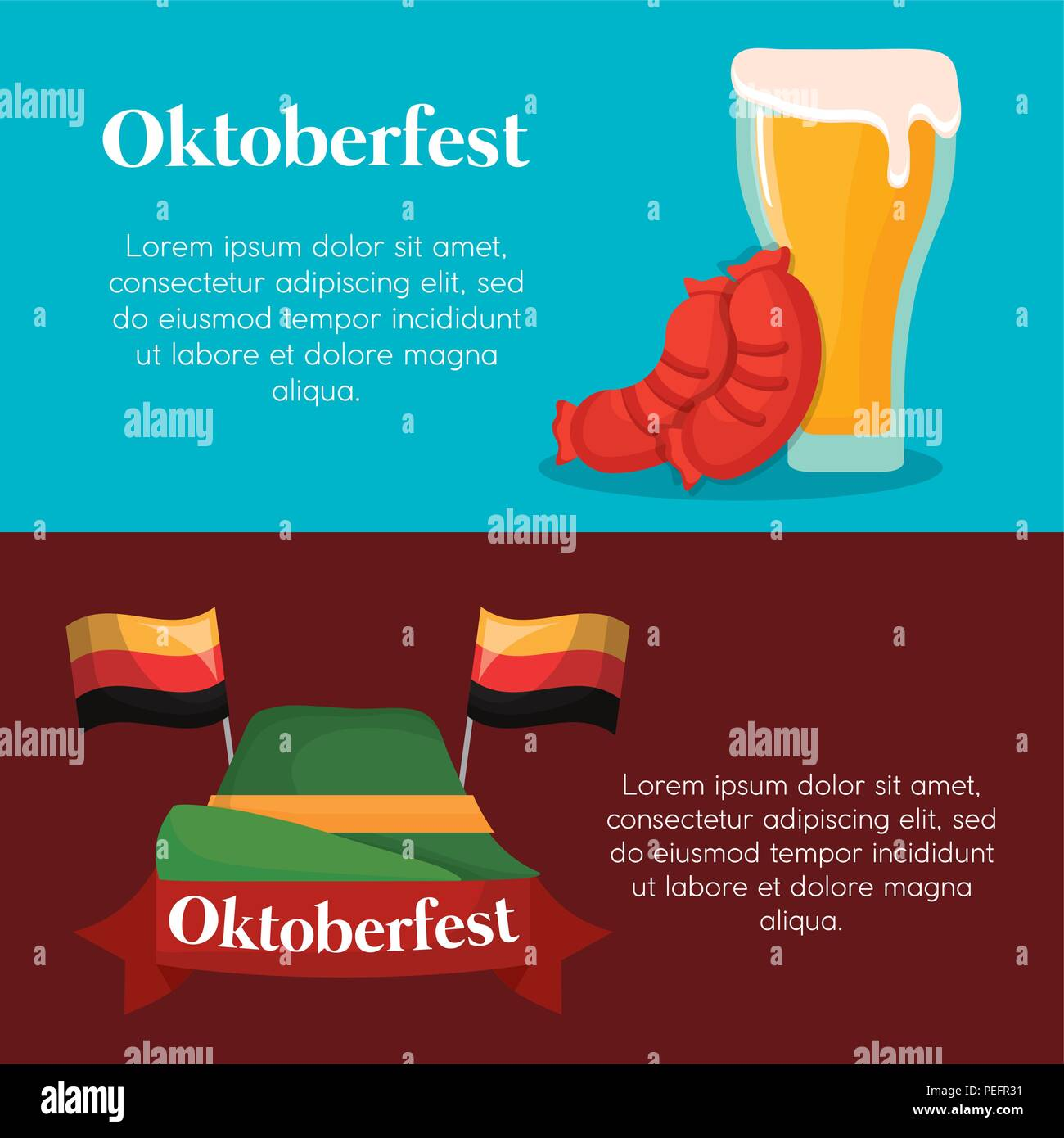 infographic of oktoberfest concept with beers, sausage and alpine hat icon, colorful design. vector illustration - Stock Image