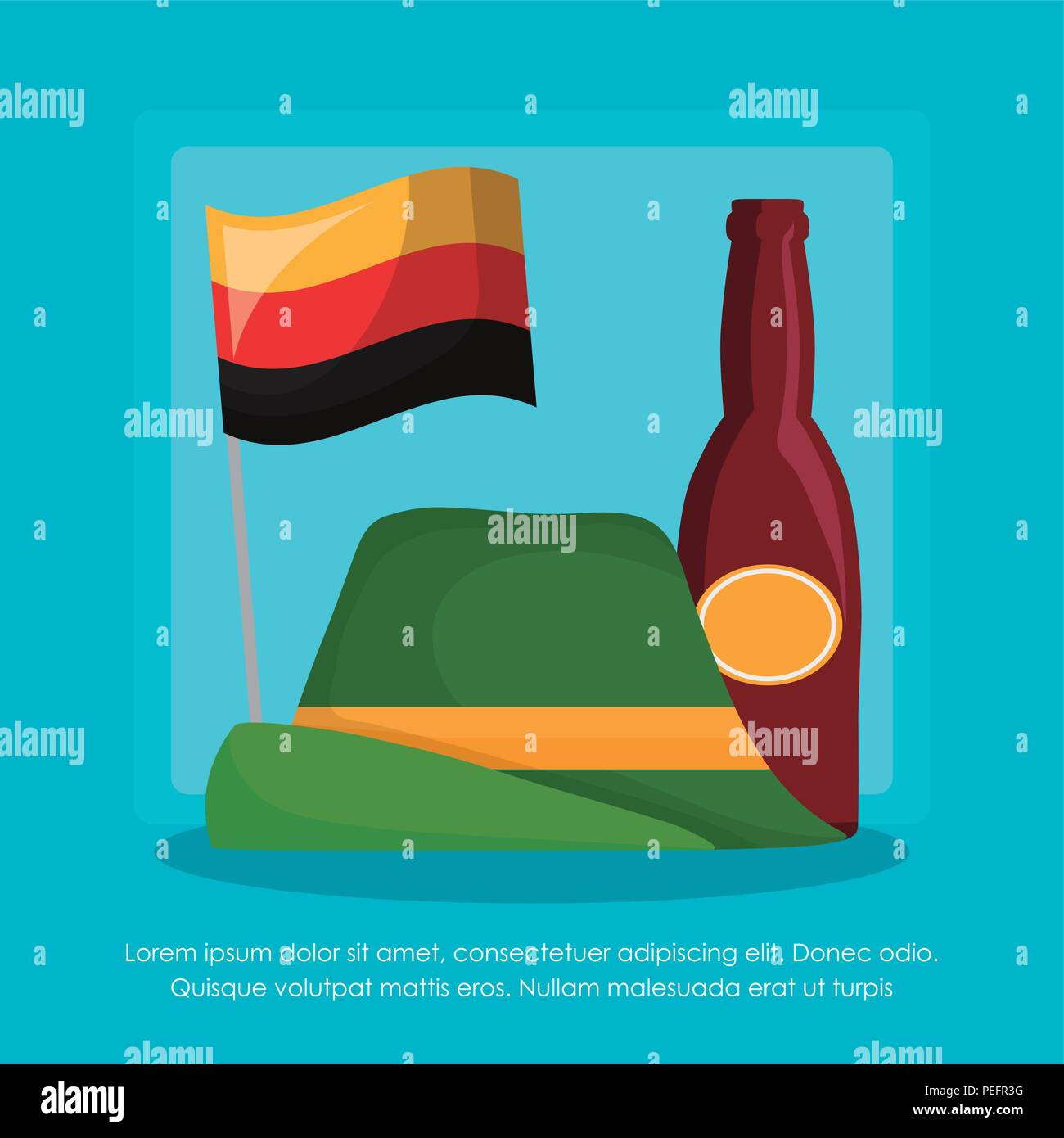 oktoberfest infographic template with alpine hat and beer bottle icon over blue background, colorful design. vector illustration - Stock Image