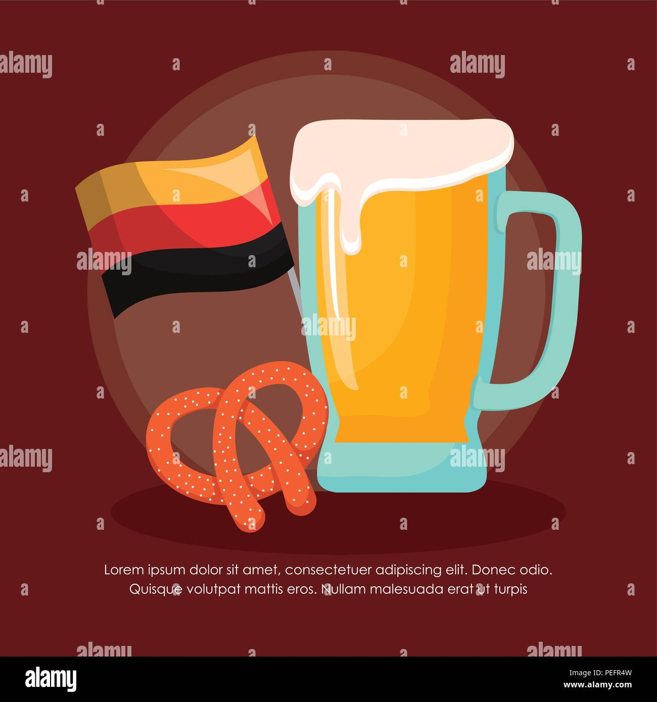 oktoberfest infographic template with beer glass and pretzel icon over brown background, colorful design. vector illustration - Stock Image