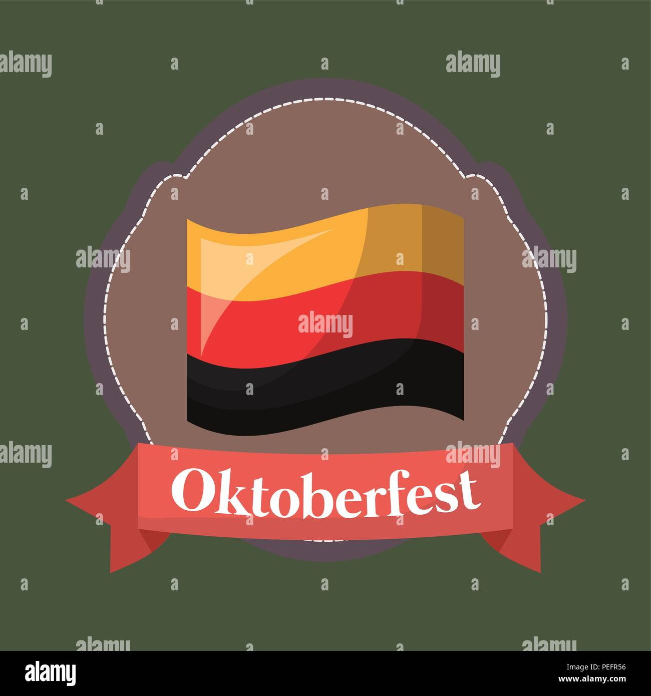 Oktoberfest festival emblem with germany flag icon over green background, colorful design. vector illustration - Stock Image