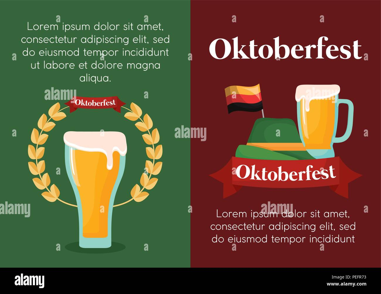 infographic of oktoberfest concept with alpine hat and beers icon, colorful design. vector illustration - Stock Image